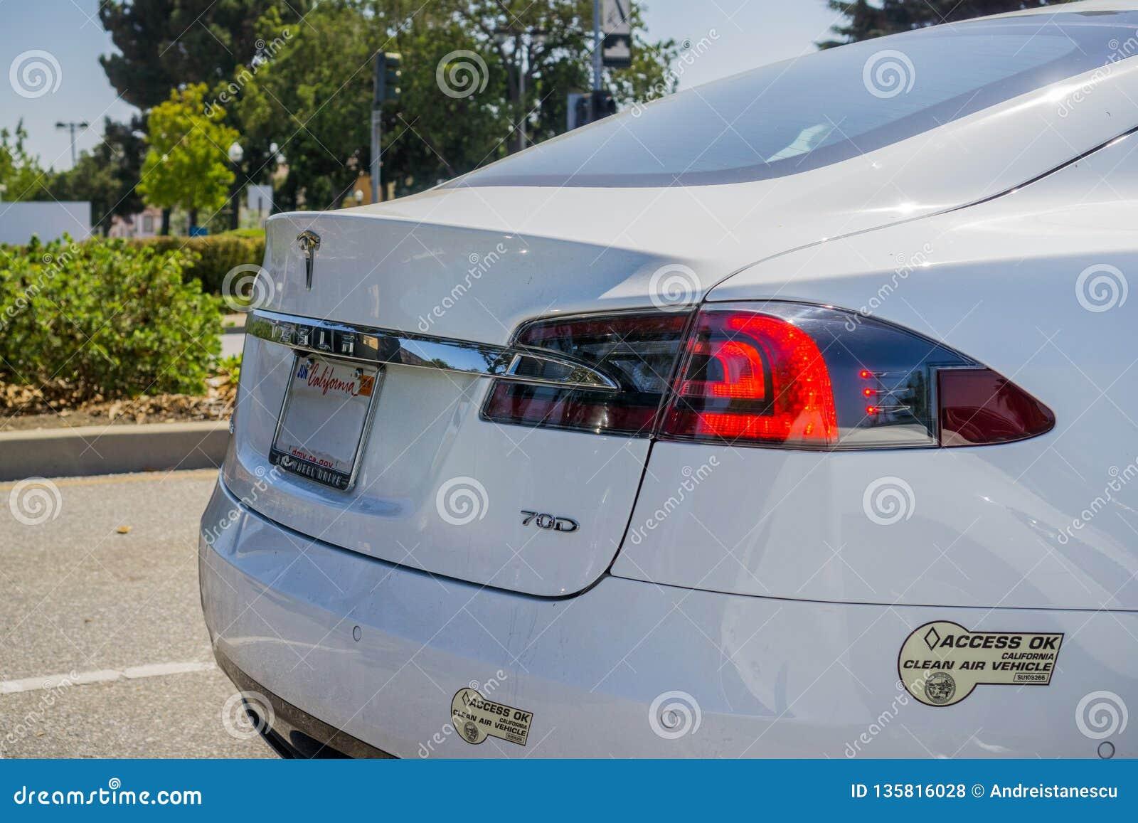 August 30, 2017 Sunnyvale/CA/USA - Tesla Model S 70D Rear ...