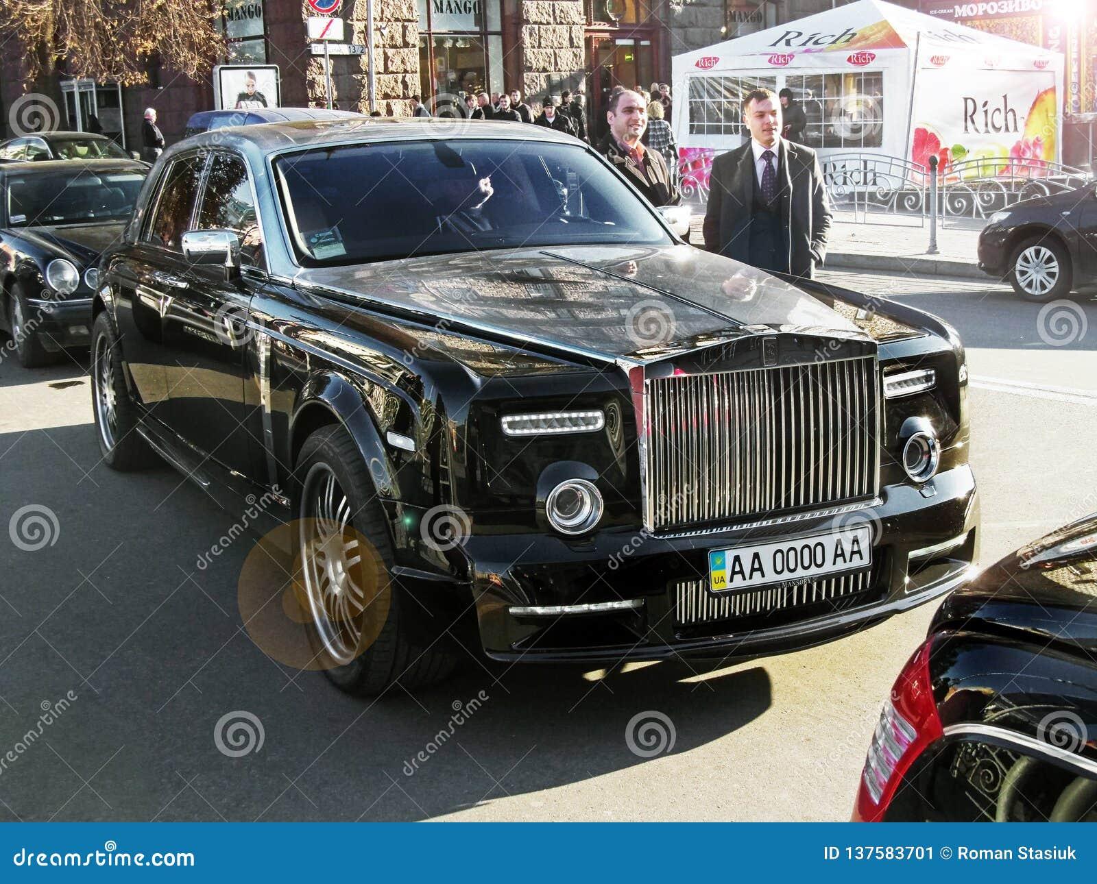 August 25 2010 Ukraine Kiev Black Rolls Royce Phantom Mansory Conquistador Editorial Photo Image Of Chrome Detail 137583701