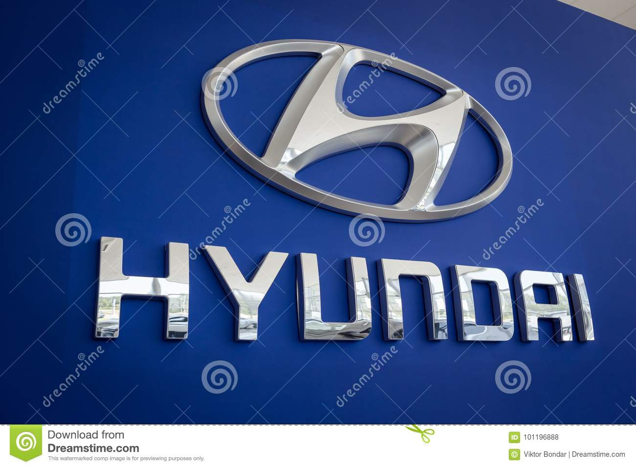 01 of August,2017 - Vinnitsa,Ukraine - HYUNDAI brandwall,the log