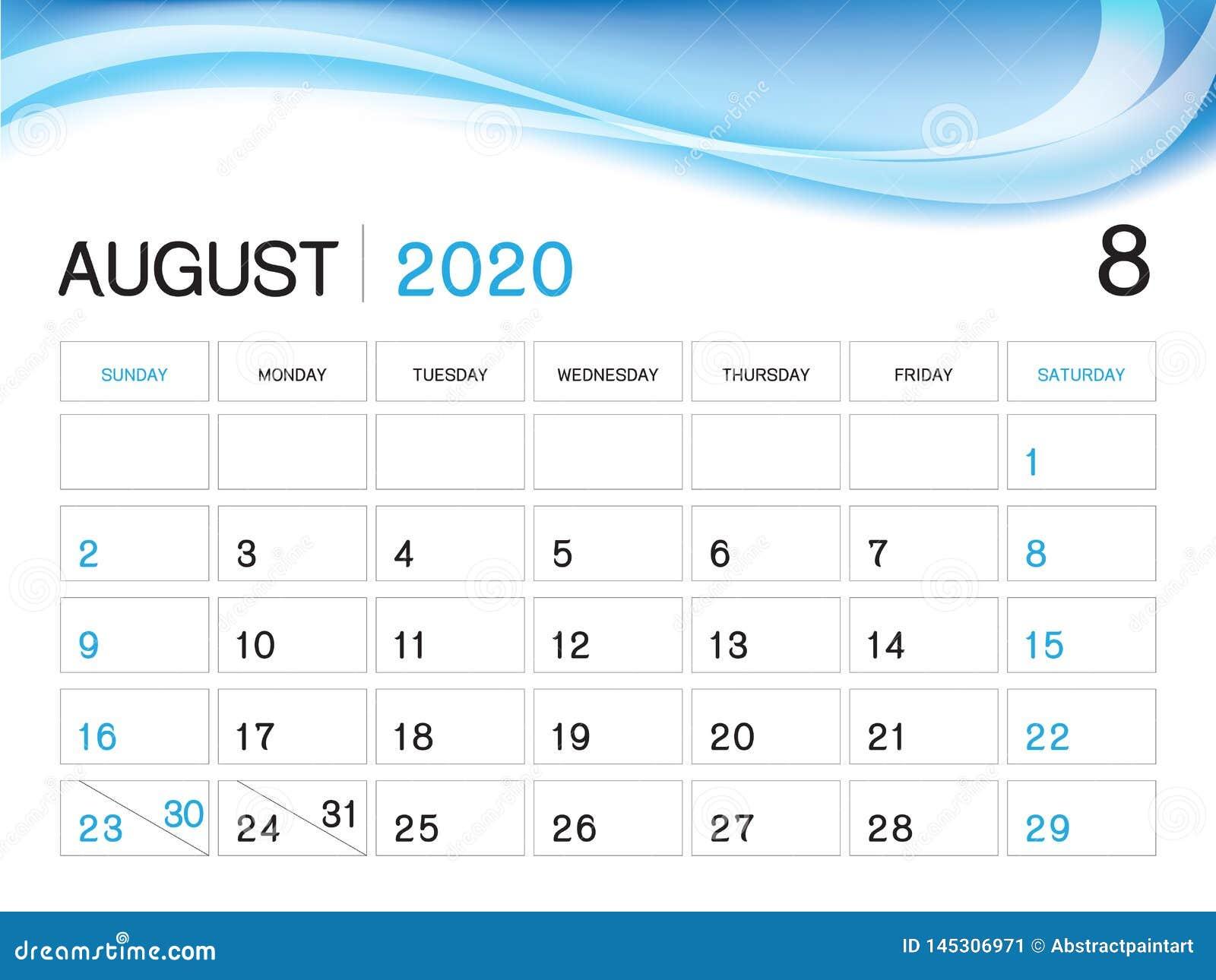 Blank Calendar August 2020.August 2020 Year Template Calendar 2020 Vector Desk Calendar