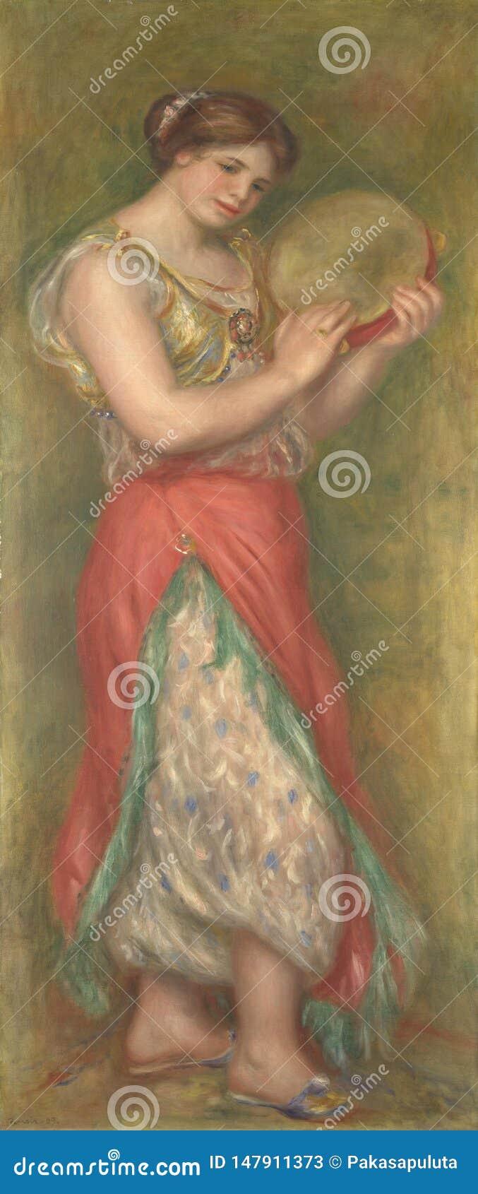 Auguste Renoir - menina de dança com pandeiro dos pares de meninas de dança com instrumentos musicais