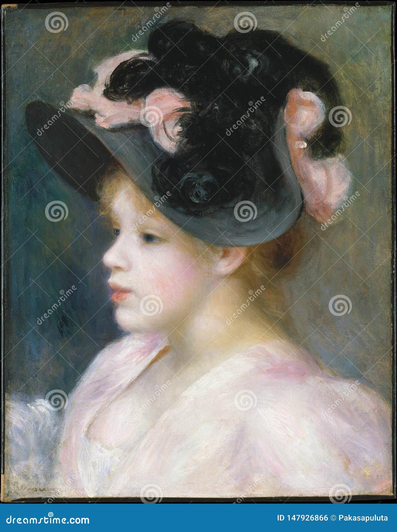 Auguste Renoir - ragazza in un cappello Rosa-e-nero