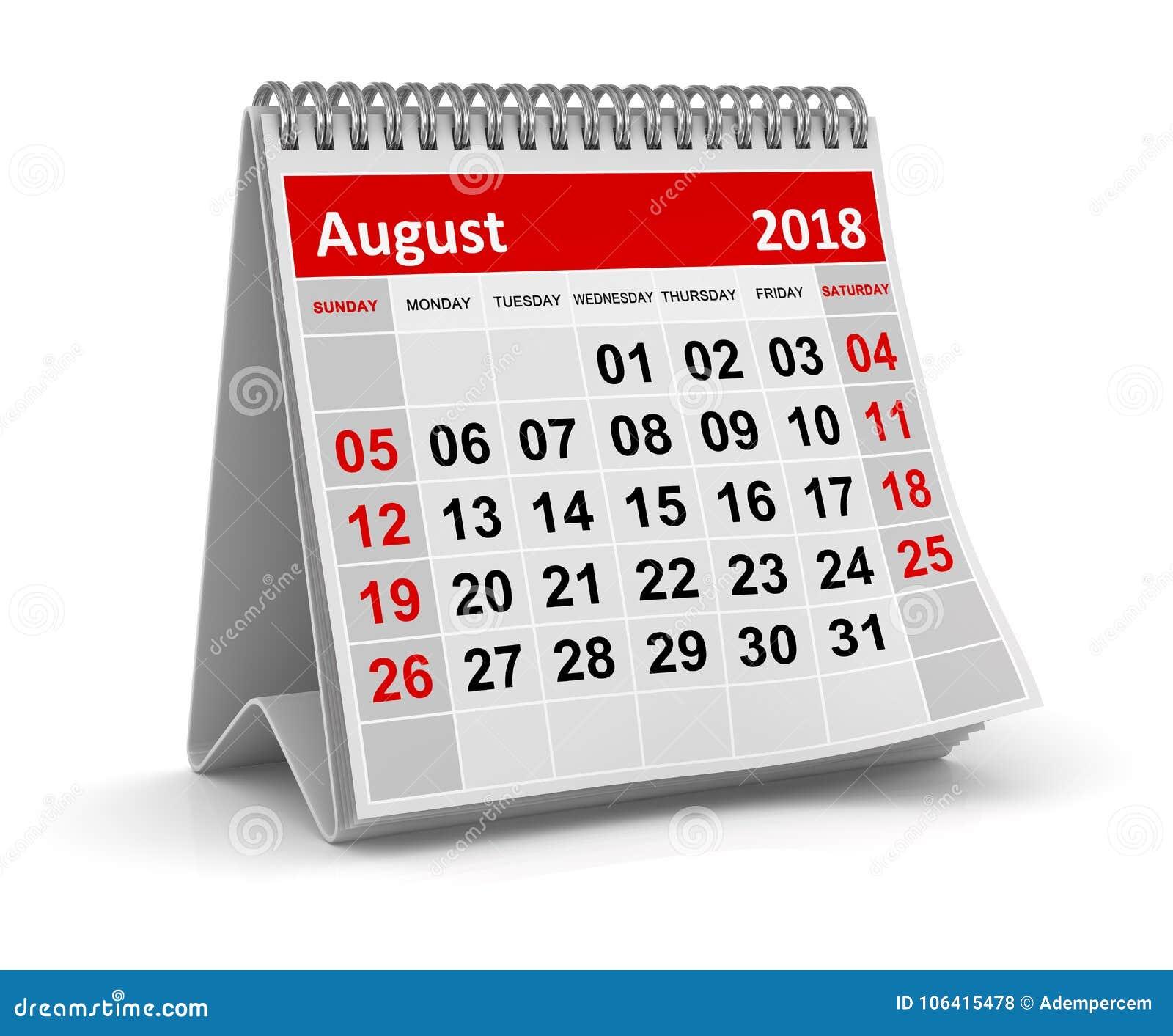 Augusti 2018 - kalender