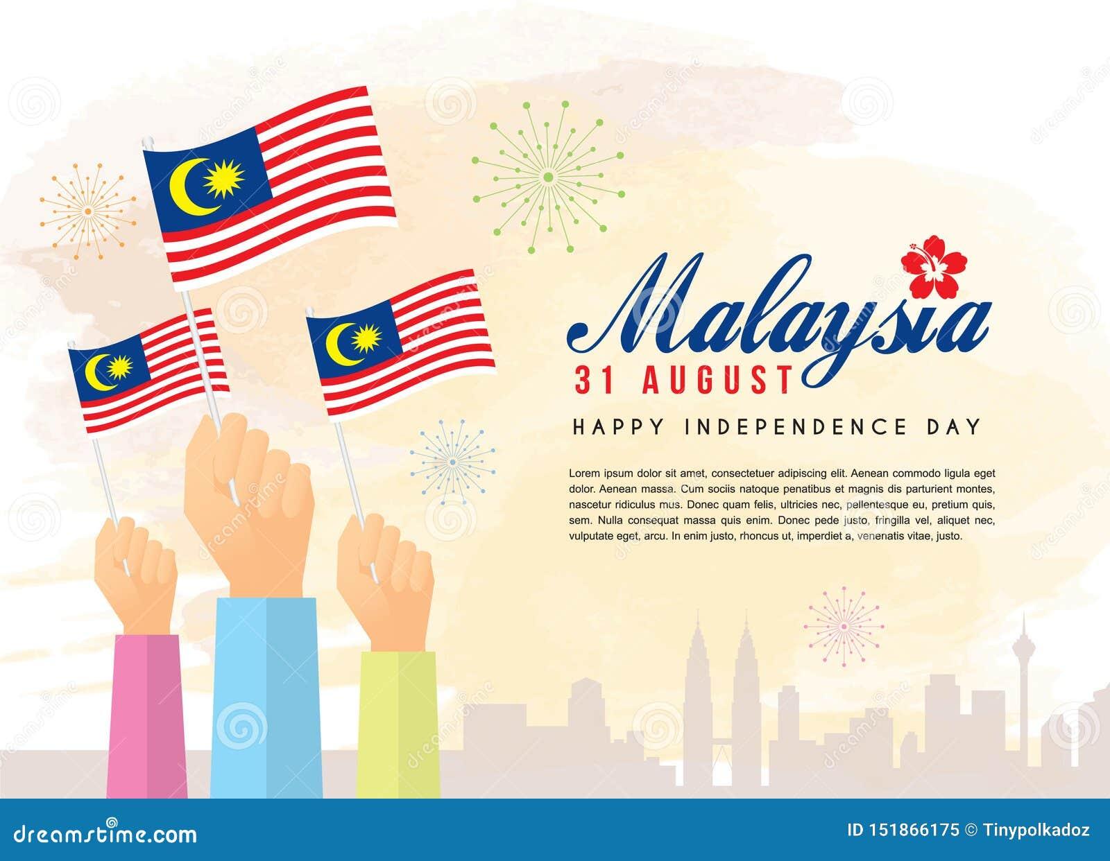 31 Augusti, Malaysia självständighetsdagen - medborgare som rymmer Malaysia flaggor med stadshorisont