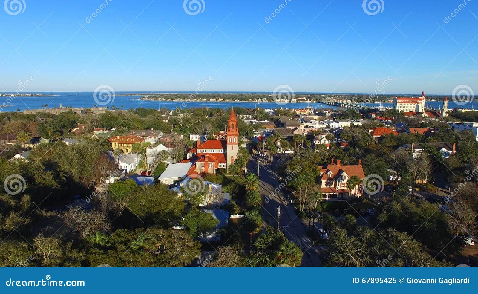 Augustine佛罗里达st 美好的鸟瞰图在一个晴天