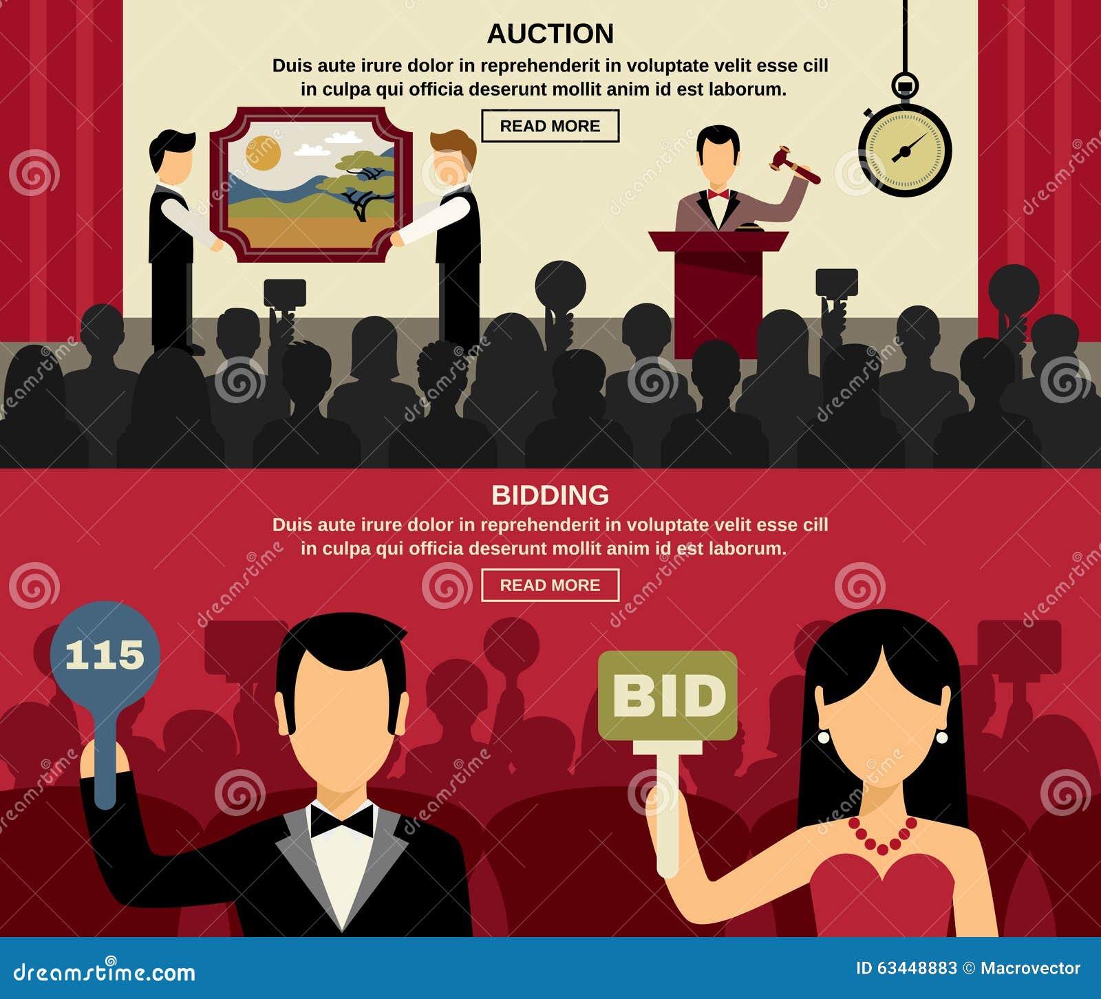 Auktion och bjuda baneruppsättningen