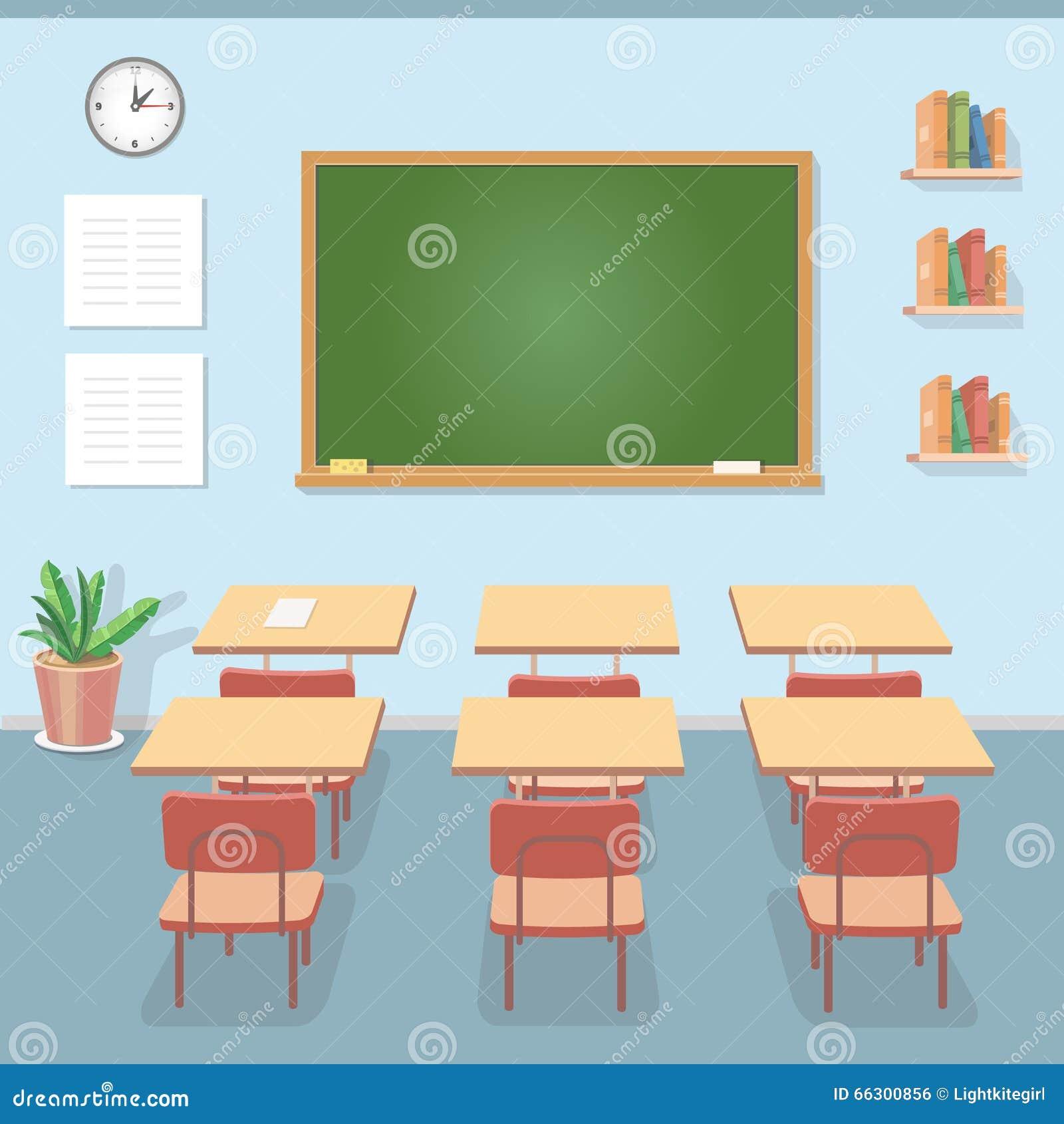Aula Della Scuola Con La Lavagna E Gli Scrittori Classe