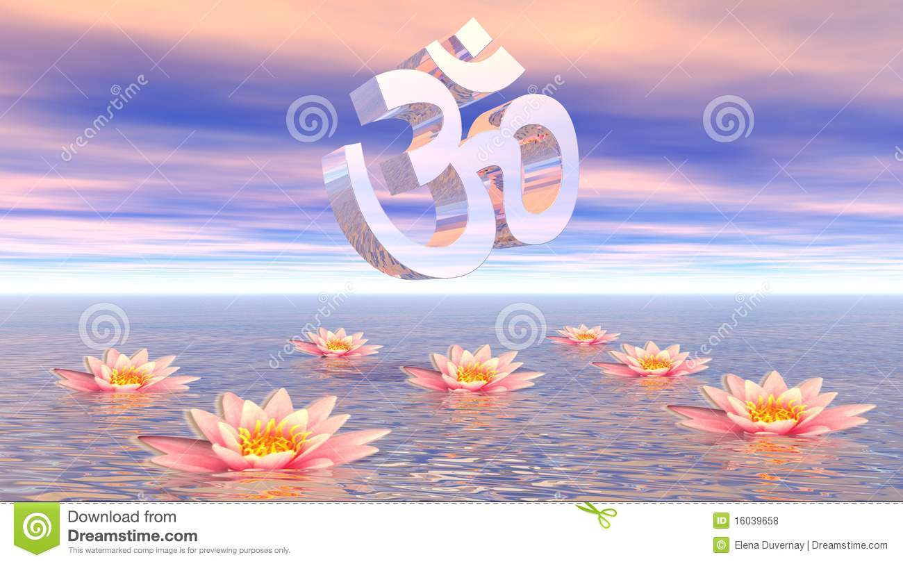 Aum - Om Upon Lotus Royalty Free Stock Photos - Image ...
