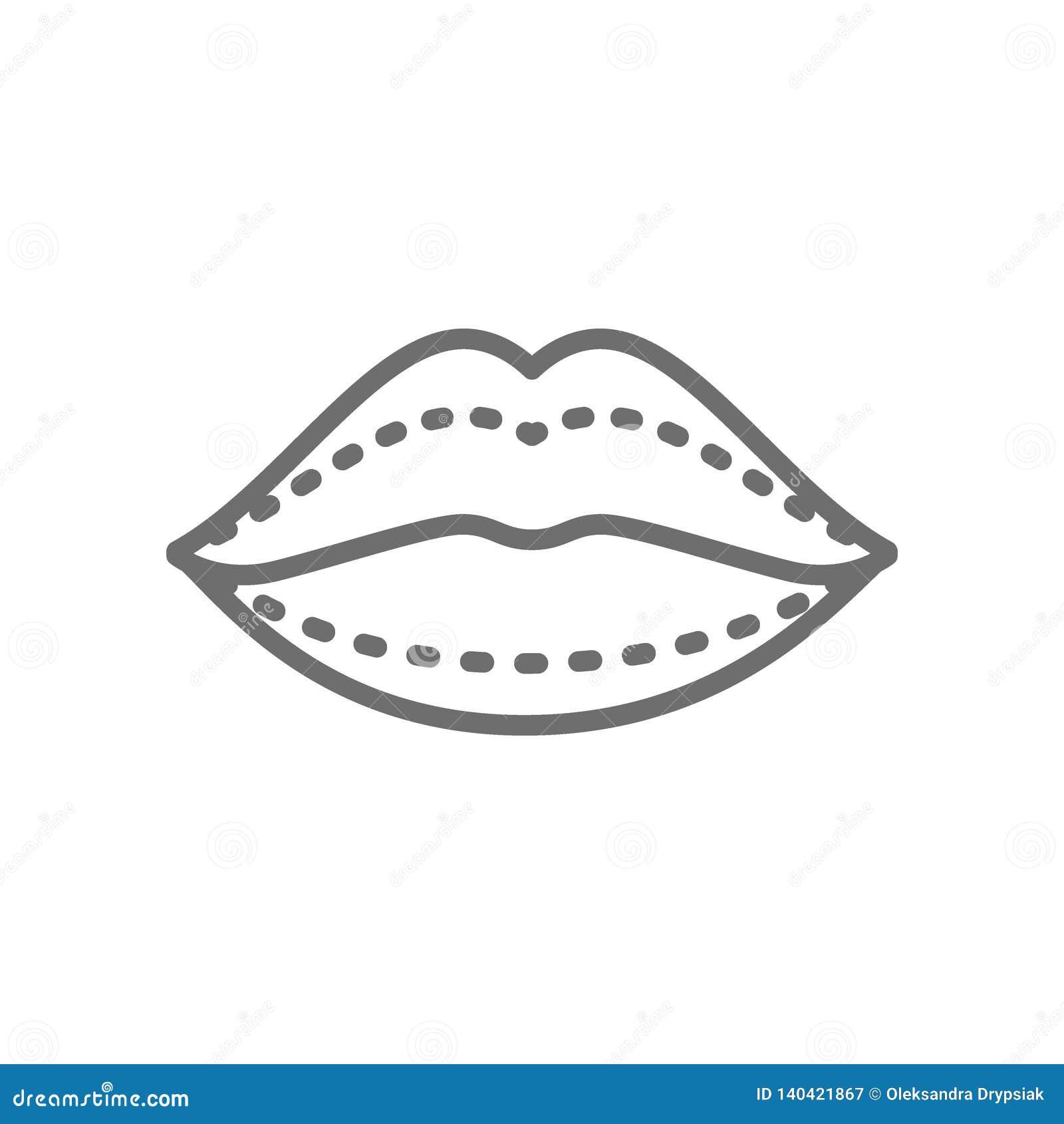 Aumento del labio, inyecciones ácidas hialurónicas, línea icono de la cirugía plástica
