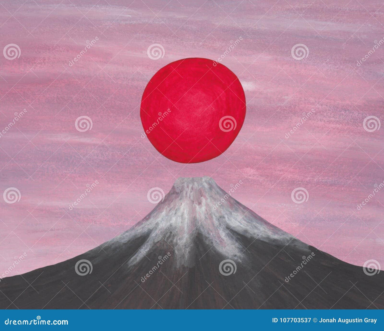 Aumento rosso del sole sopra la montagna del Giappone Fuji, dal mio ` di serie di immagine creato auto lo spirito dell Asia II, 2