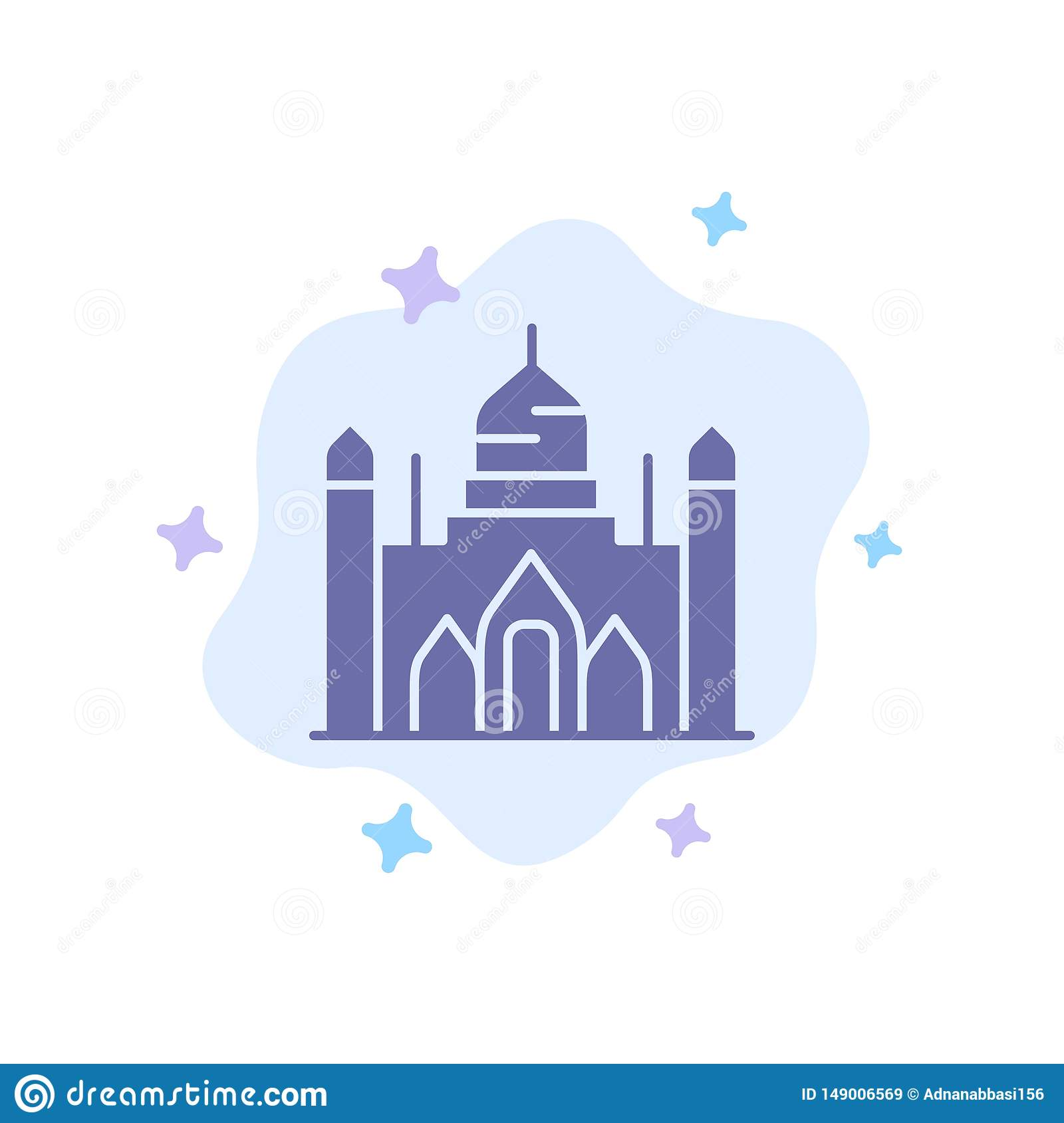 Aurangabad Fort, Bangladesh, Dhaka, Lalbagh Blue Icon on Abstract Cloud Background