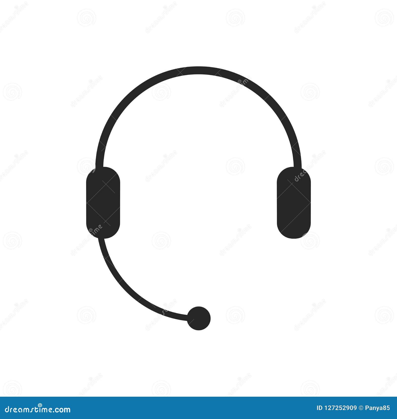 Auriculares con el micrófono, icono de las auriculares Ayuda, centro de atención telefónica, símbolo del servicio de atención al