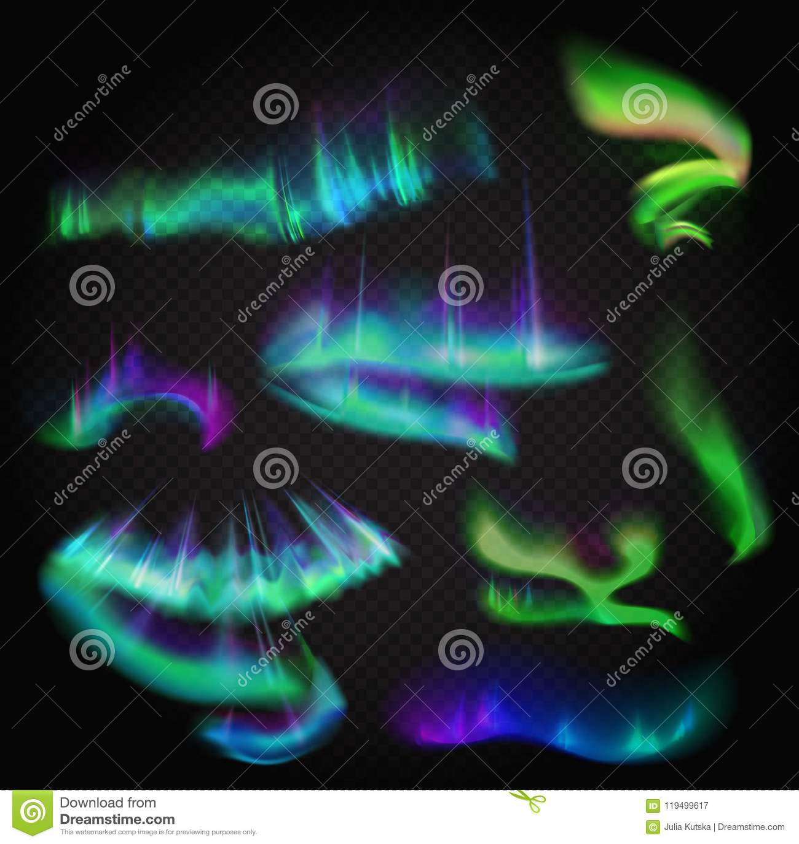 Aurora boreal realística do vetor ajustada Céu polar da noite surpreendente do aurora borealis no fundo stransparent alfa