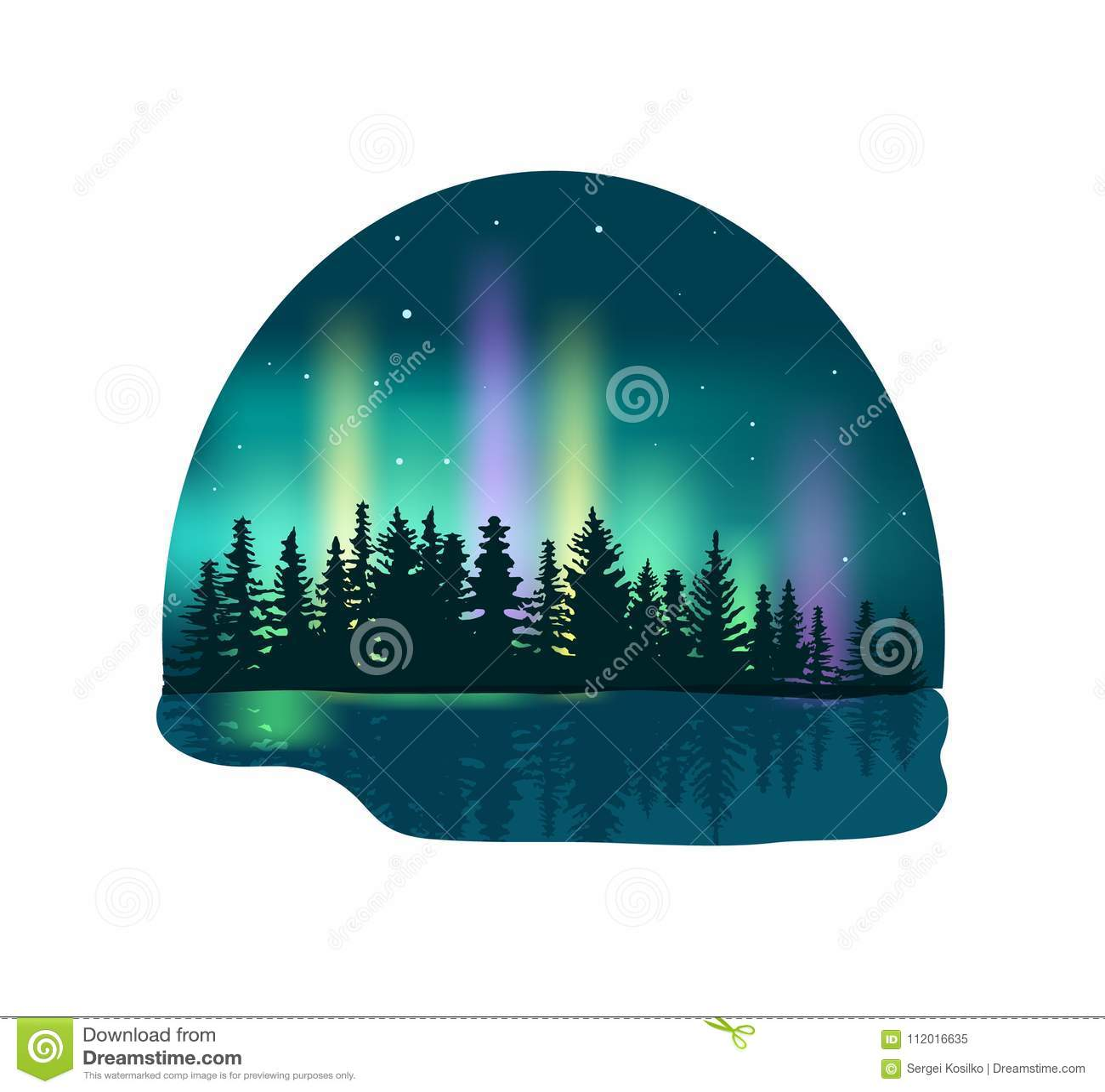 Aurora boreal sobre o ícone profundo da floresta