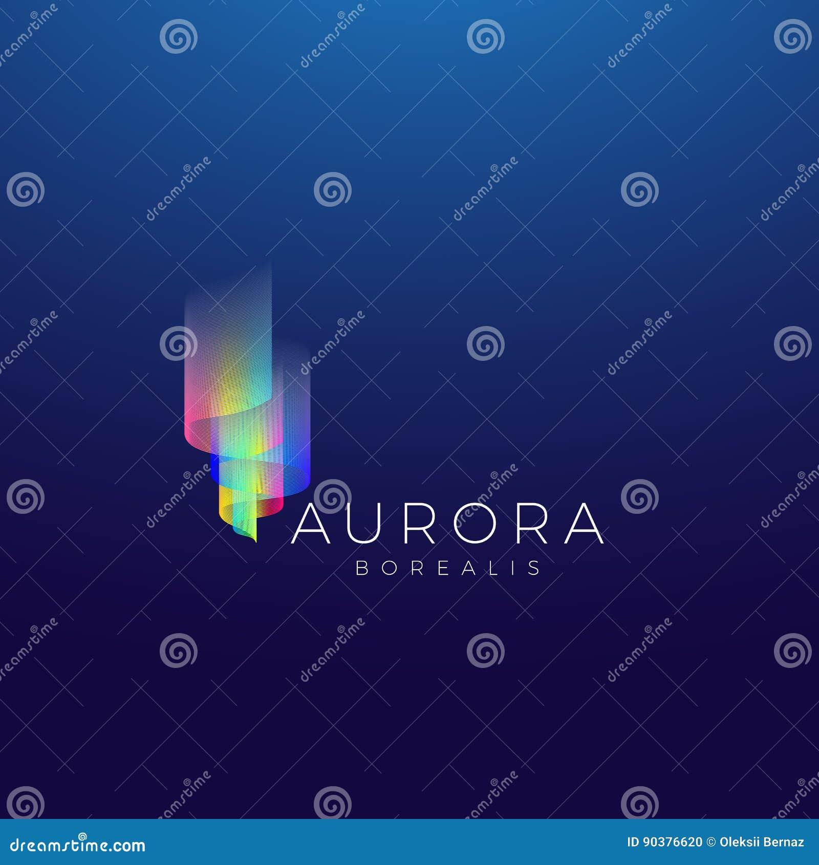 Aurora Borealis Abstract Vetora Sign, emblema ou Logo Template Símbolo superior da qualidade no fundo escuro
