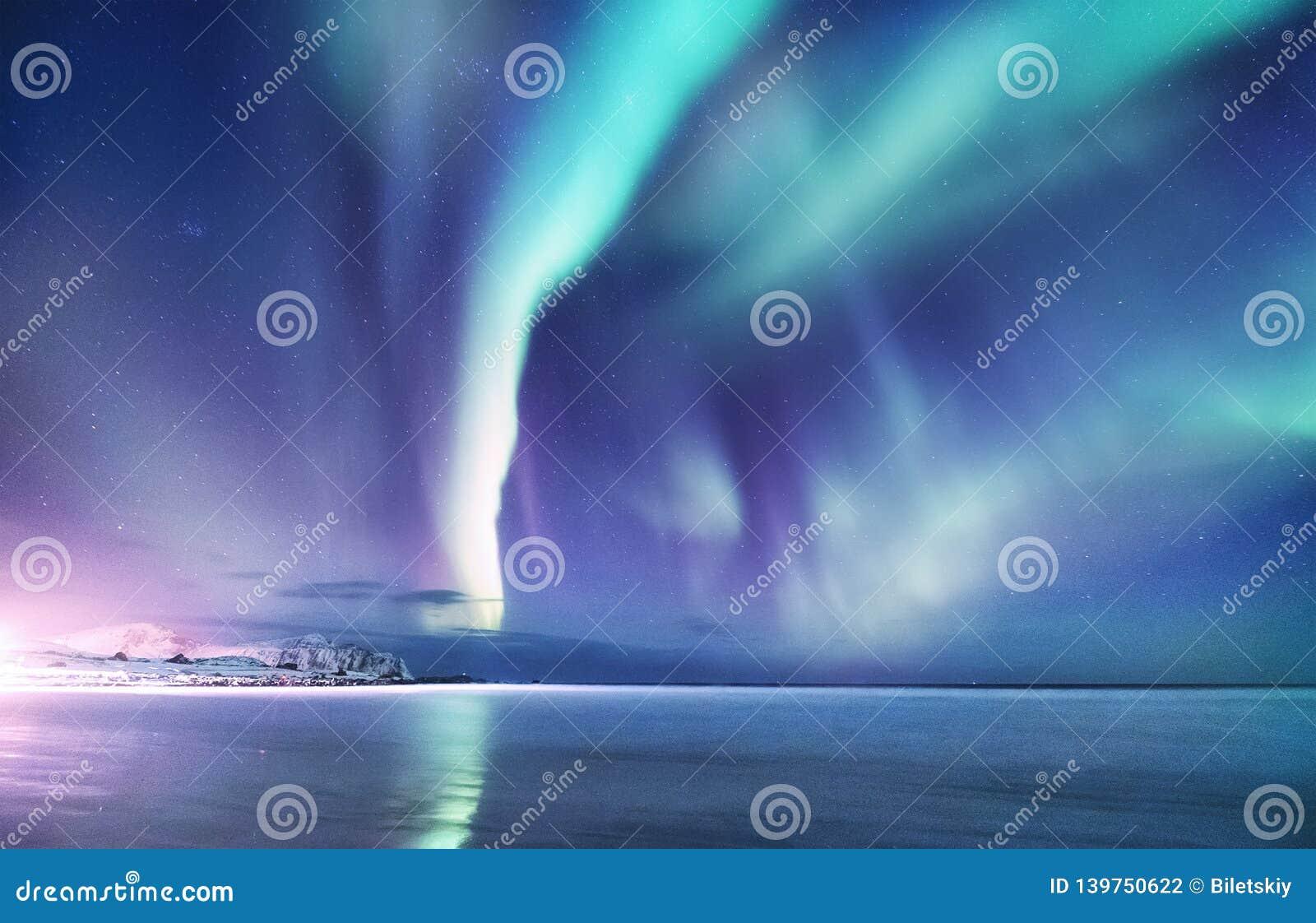 Aurora borealis op de Lofoten-eilanden, Noorwegen Nachthemel met polaire lichten Het landschap van de nachtwinter met dageraad en