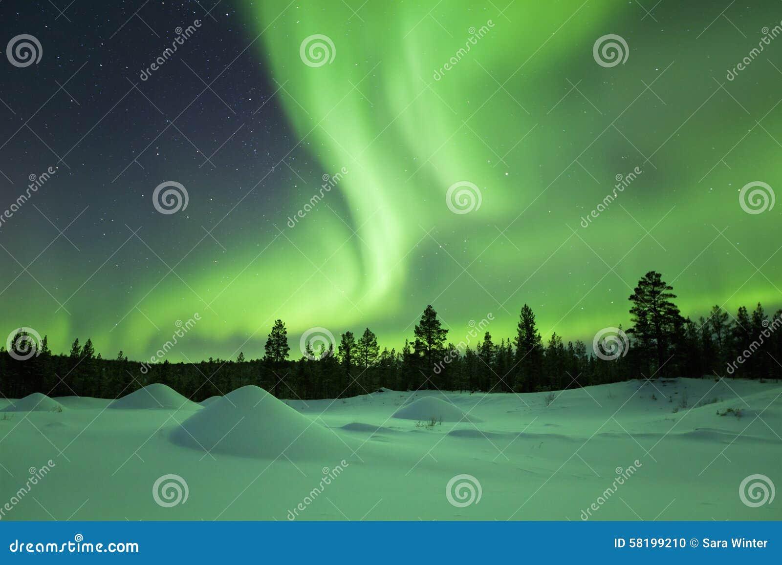 Aurora borealis over winter landscape, Finnish Lapland