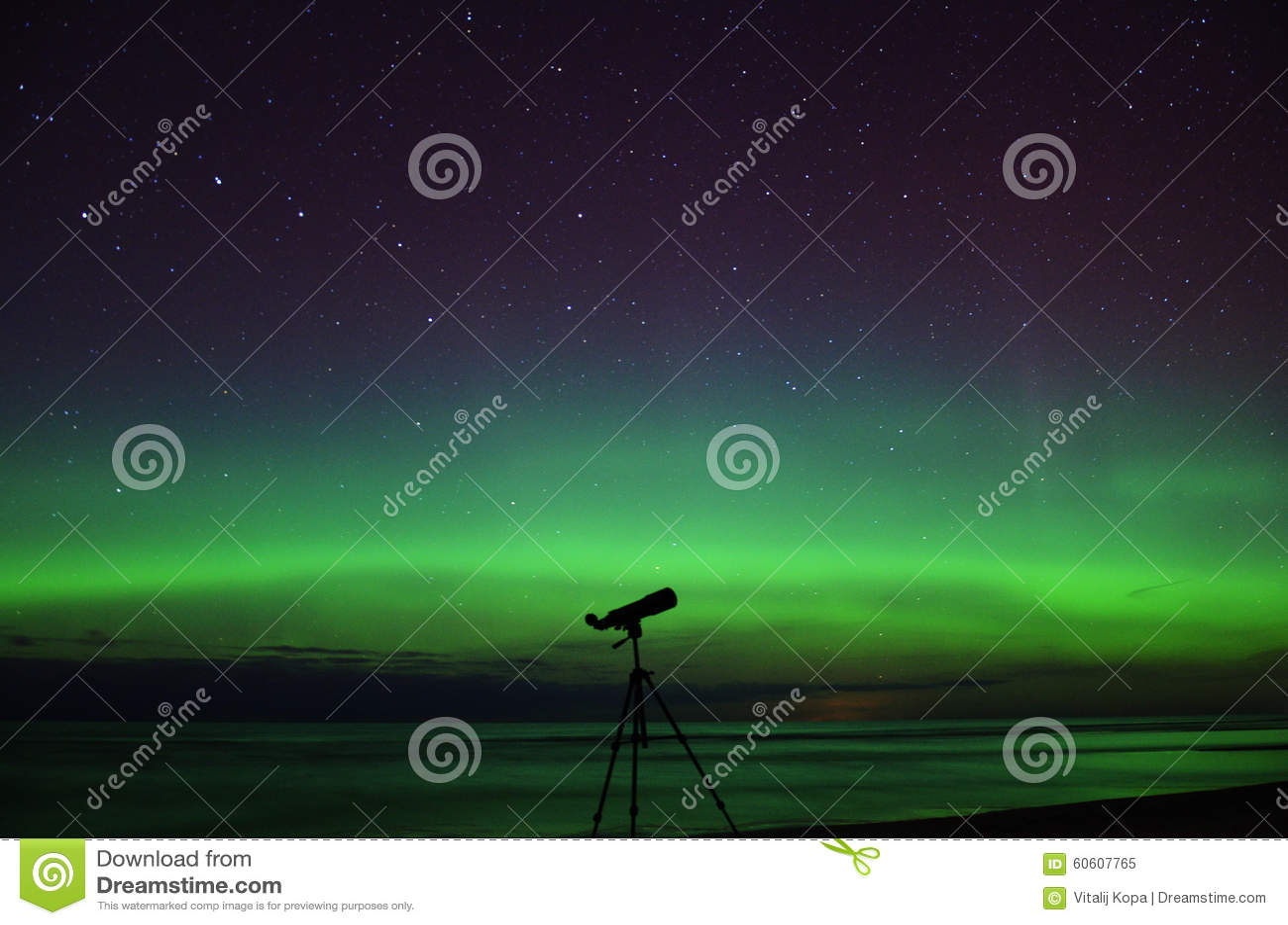 Night stars aurora northern polar lights and big dipper stars observating telescope