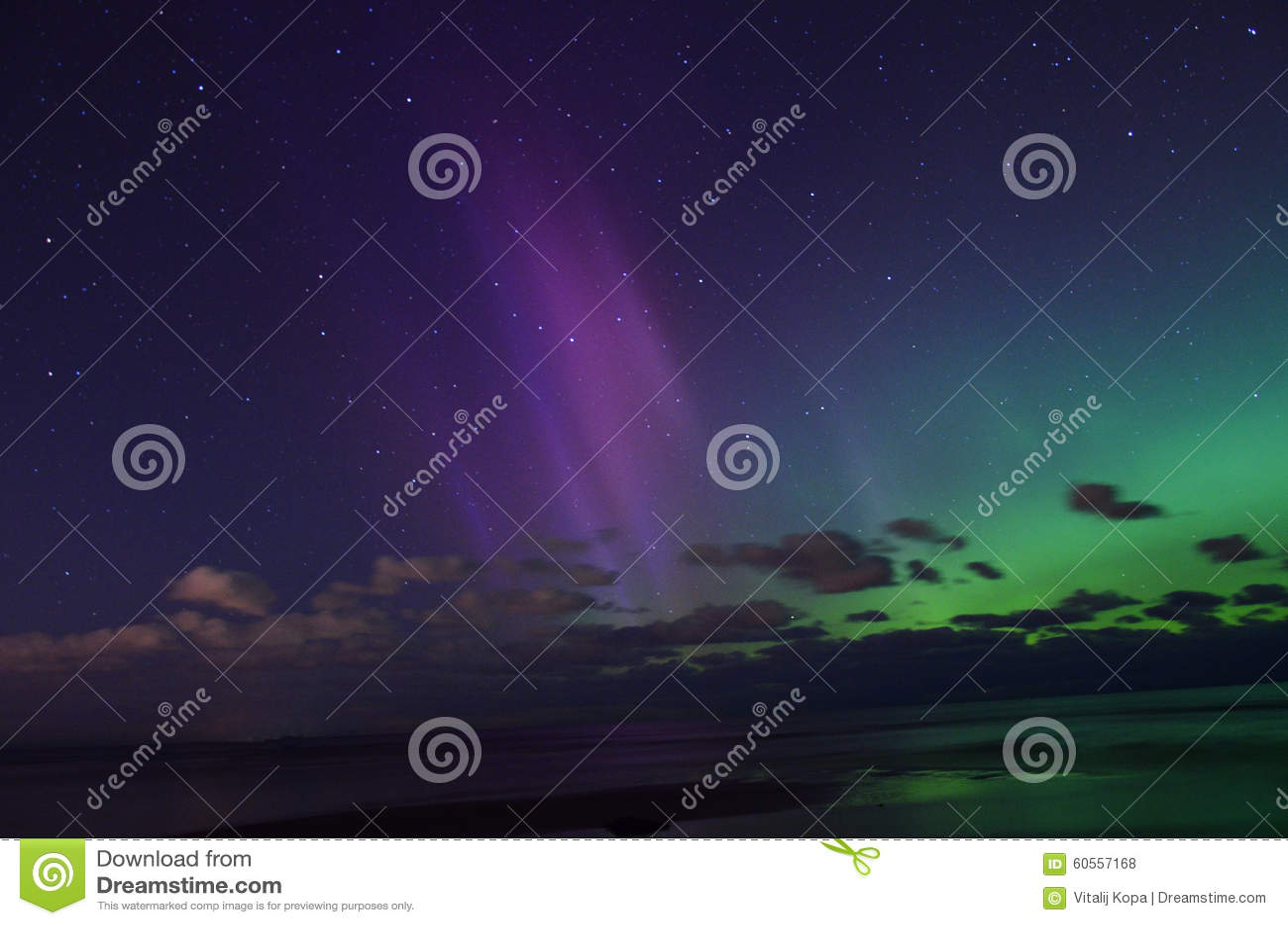 Aurora borealis polar lights and night sky stars