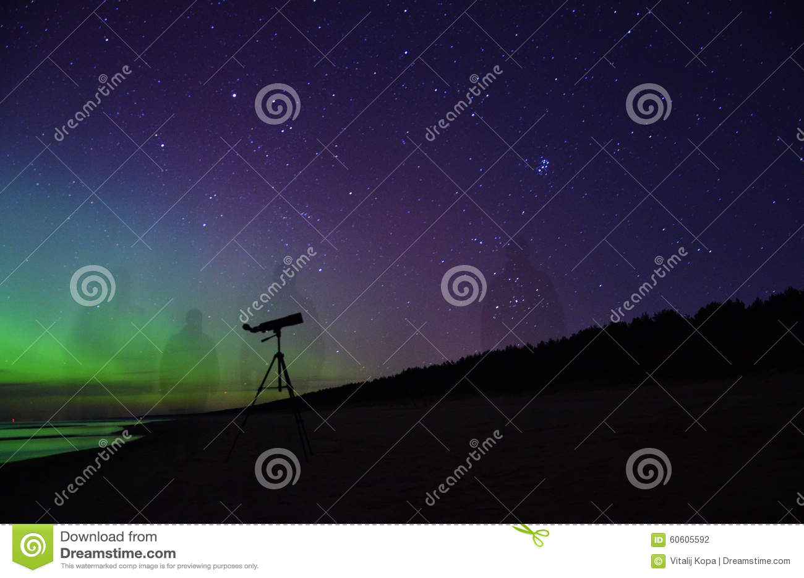 Night sky stars plеiades aurora polar lights telescope observation