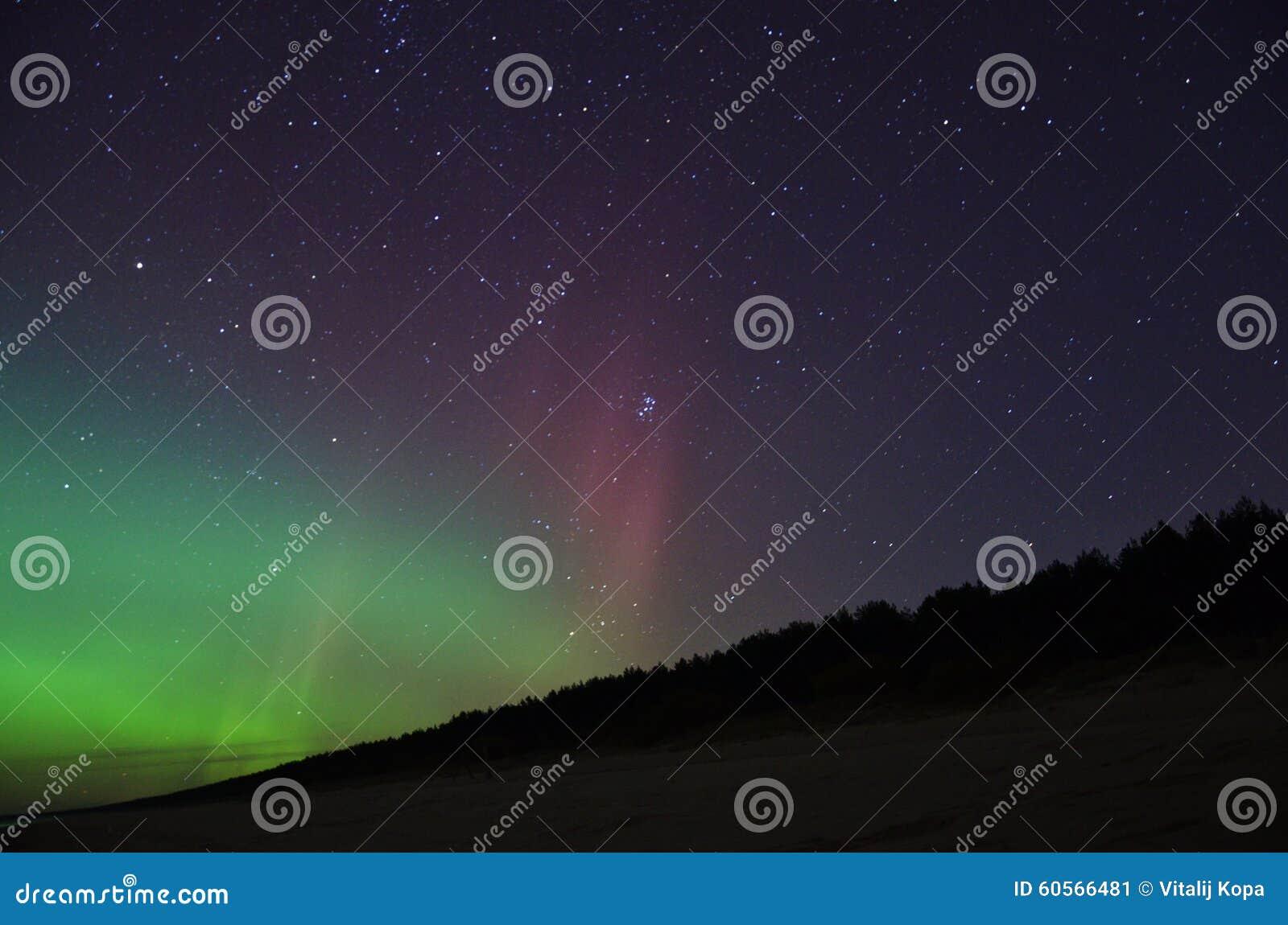Night sky stars open cluster plaiades and aurora polar lights observation