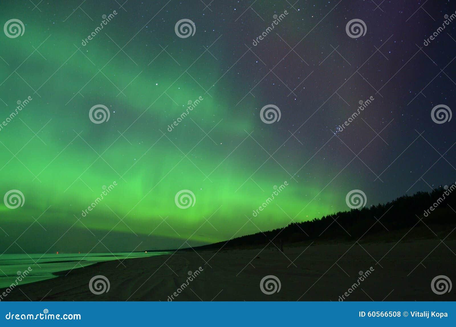 Stars and aurora northern polar lights night sky