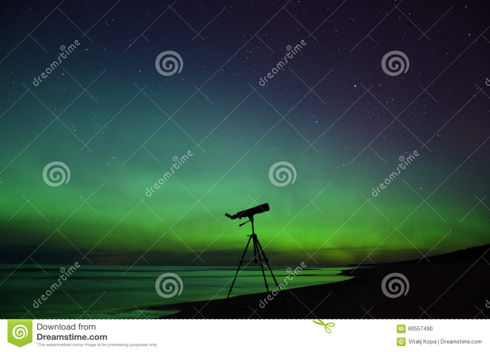 Aurora polar lights night sky stars teescope