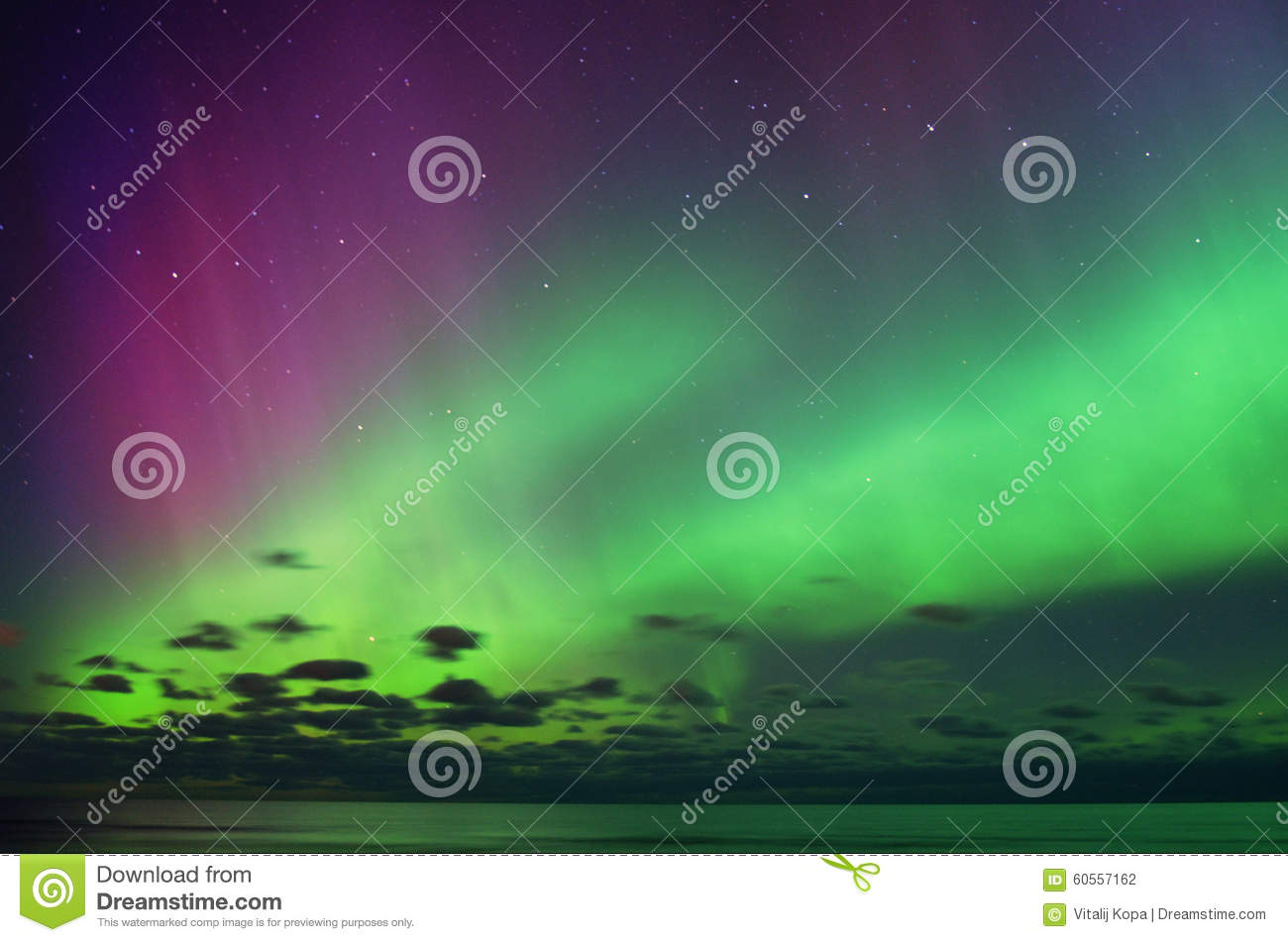 Aurora polar lights and night sky stars