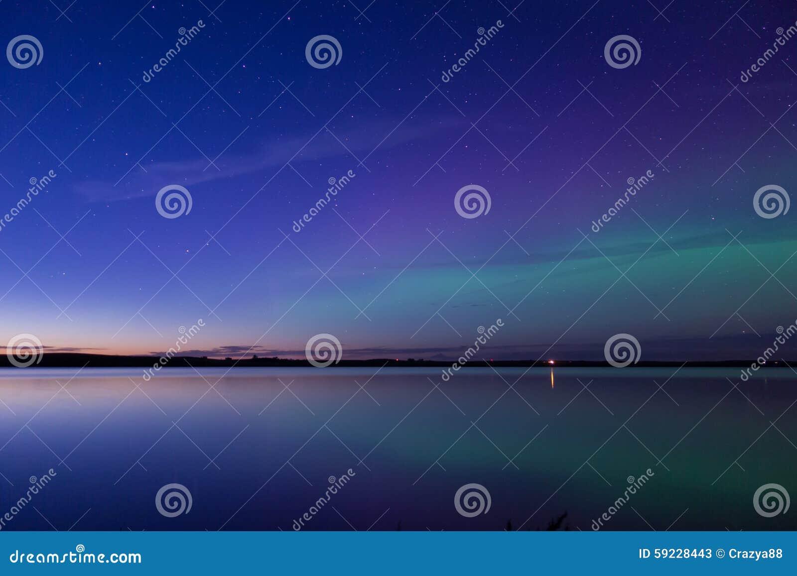 Aurora Borealis Reflected Over A Lake Stock Image Image Of Legendary Sunset 59228443