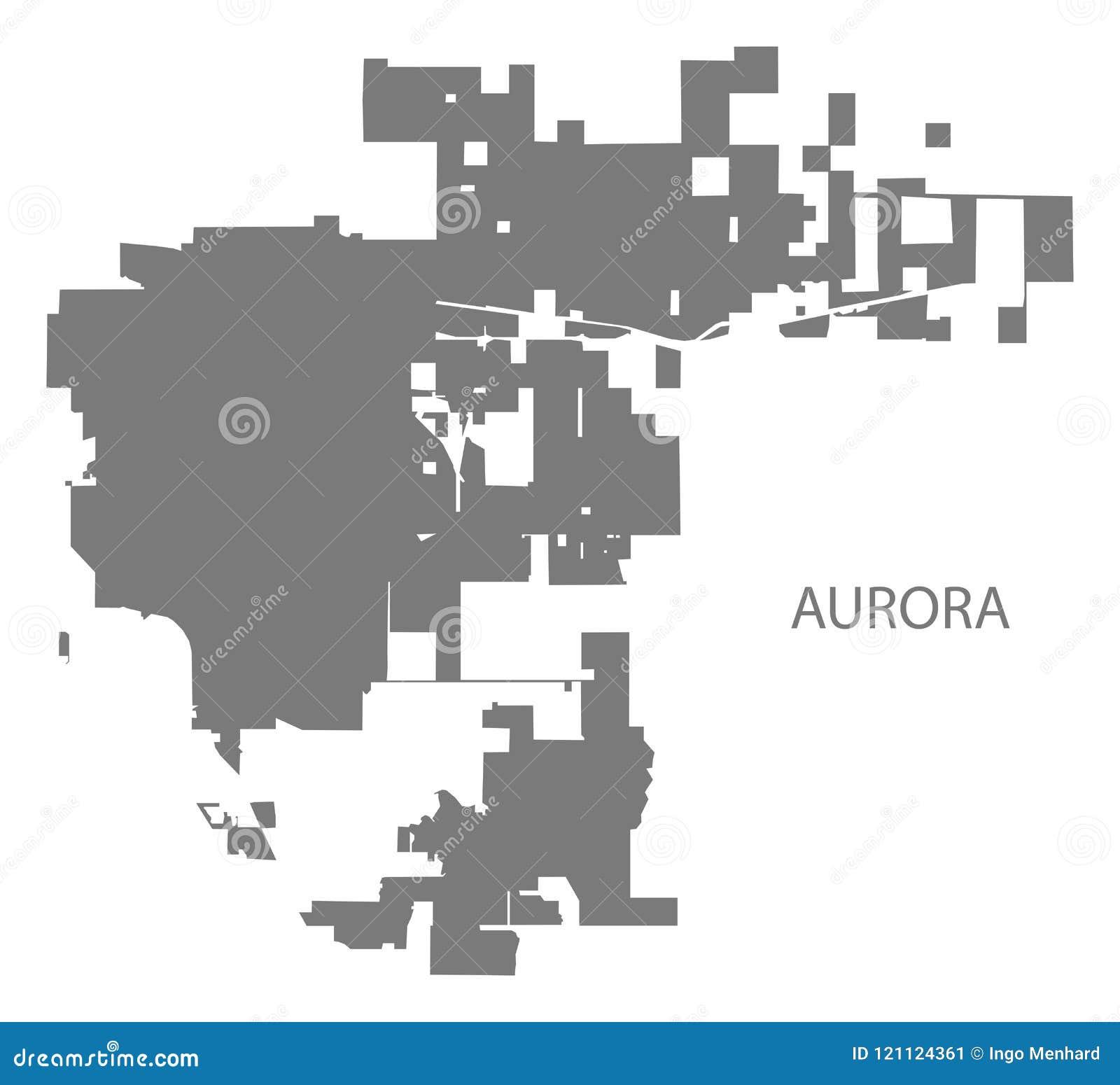 Aurora Colorado City Map Grey Illustration Silhouette Stock Vector ...