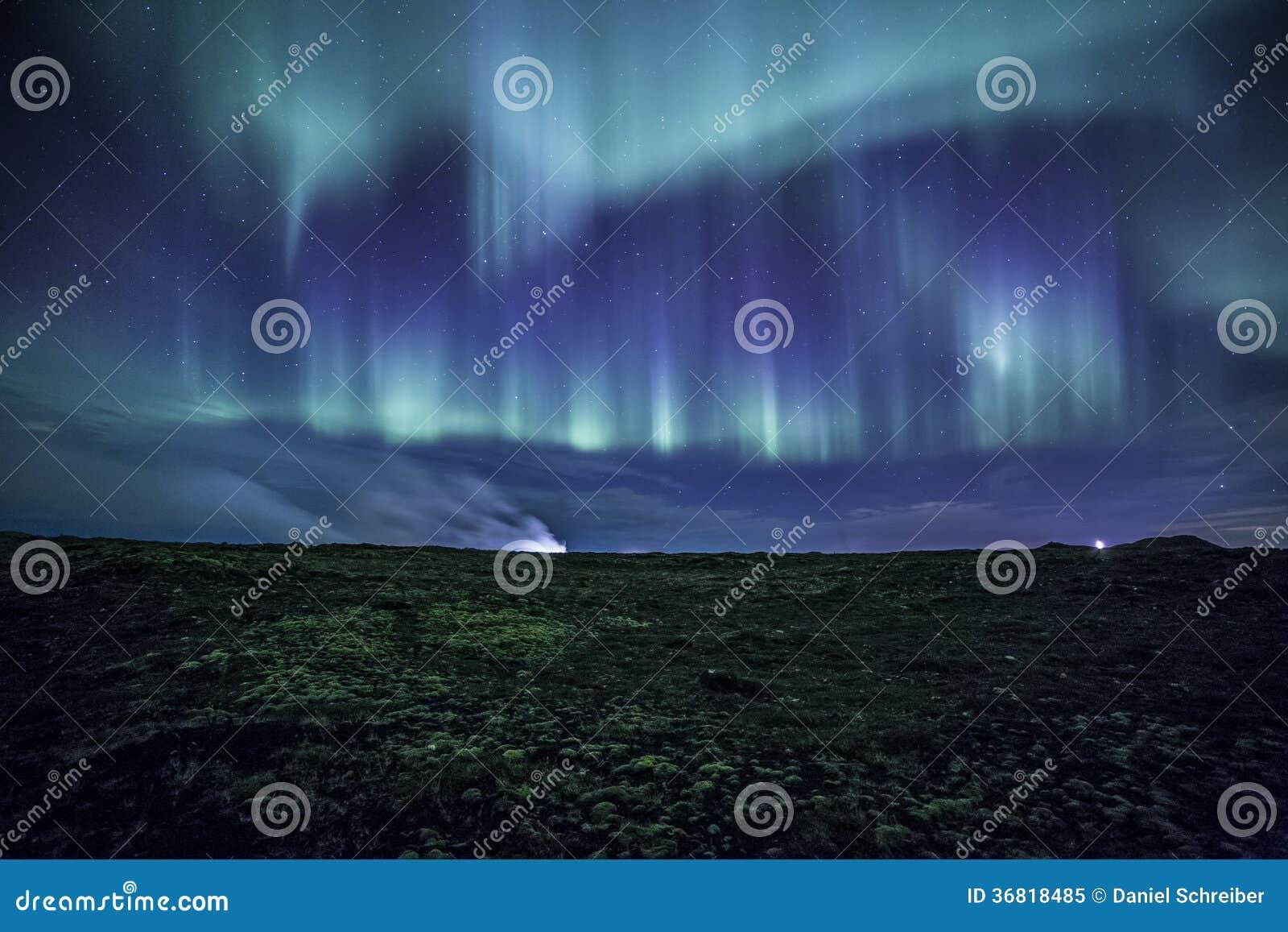 Aurora over mossy Icelandic Lava Field