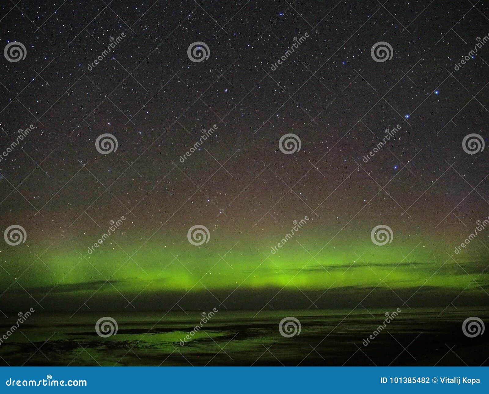 Night sky stars Draco colnstellation aurora polar lights