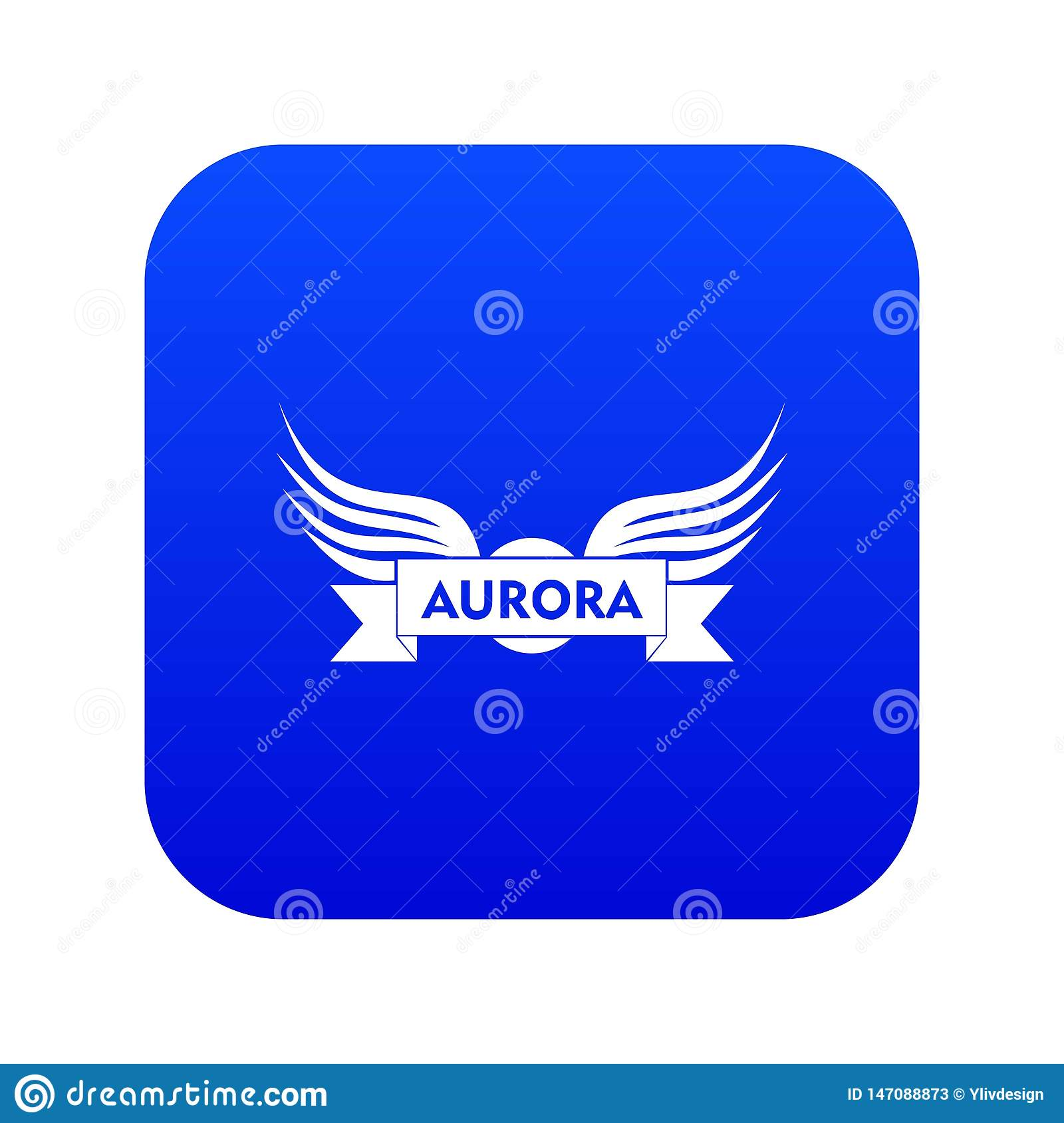 Aurora wing icon blue vector