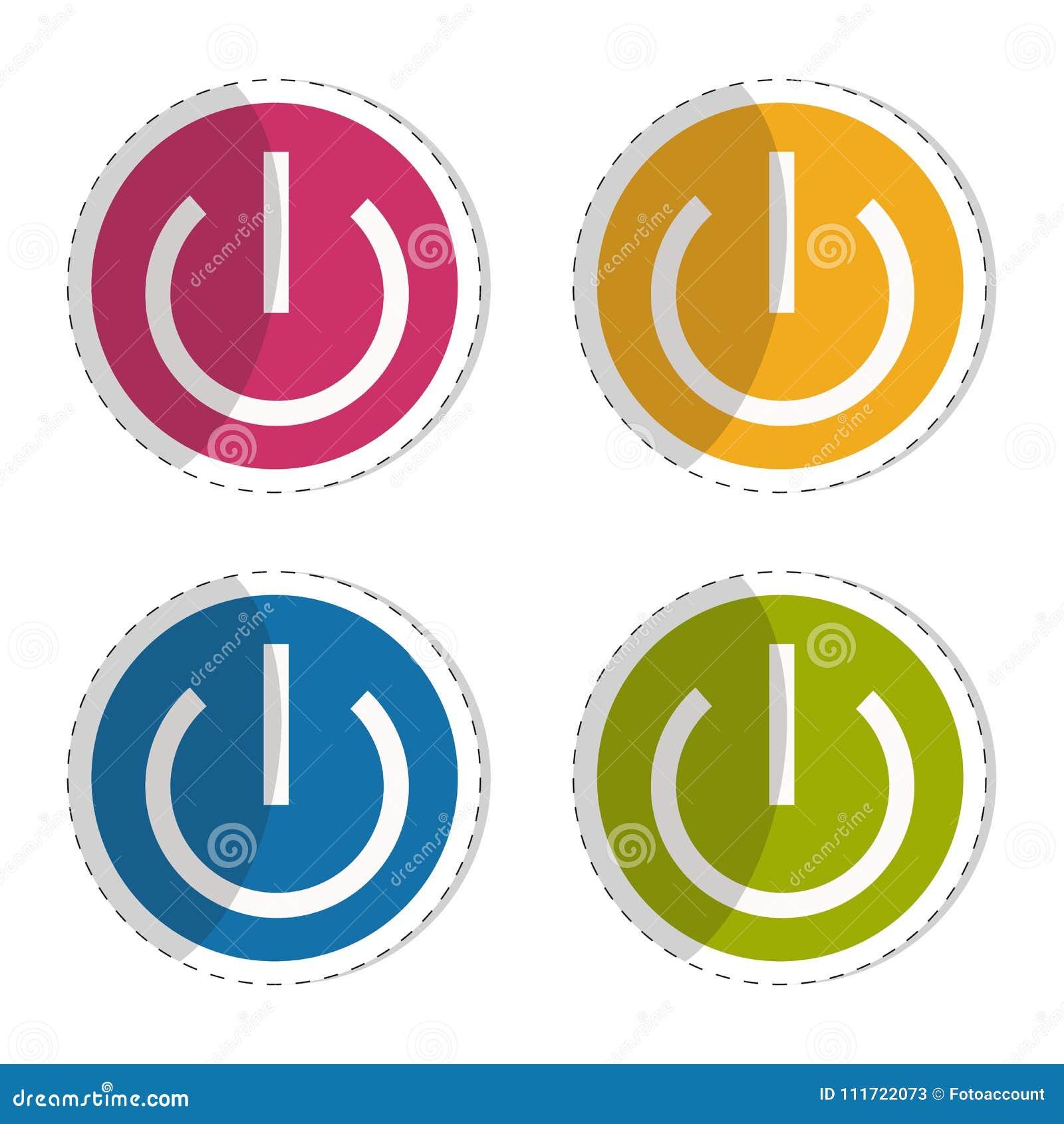 An Aus Schalter Flache Aufkleber Ikonen Für Apps Und