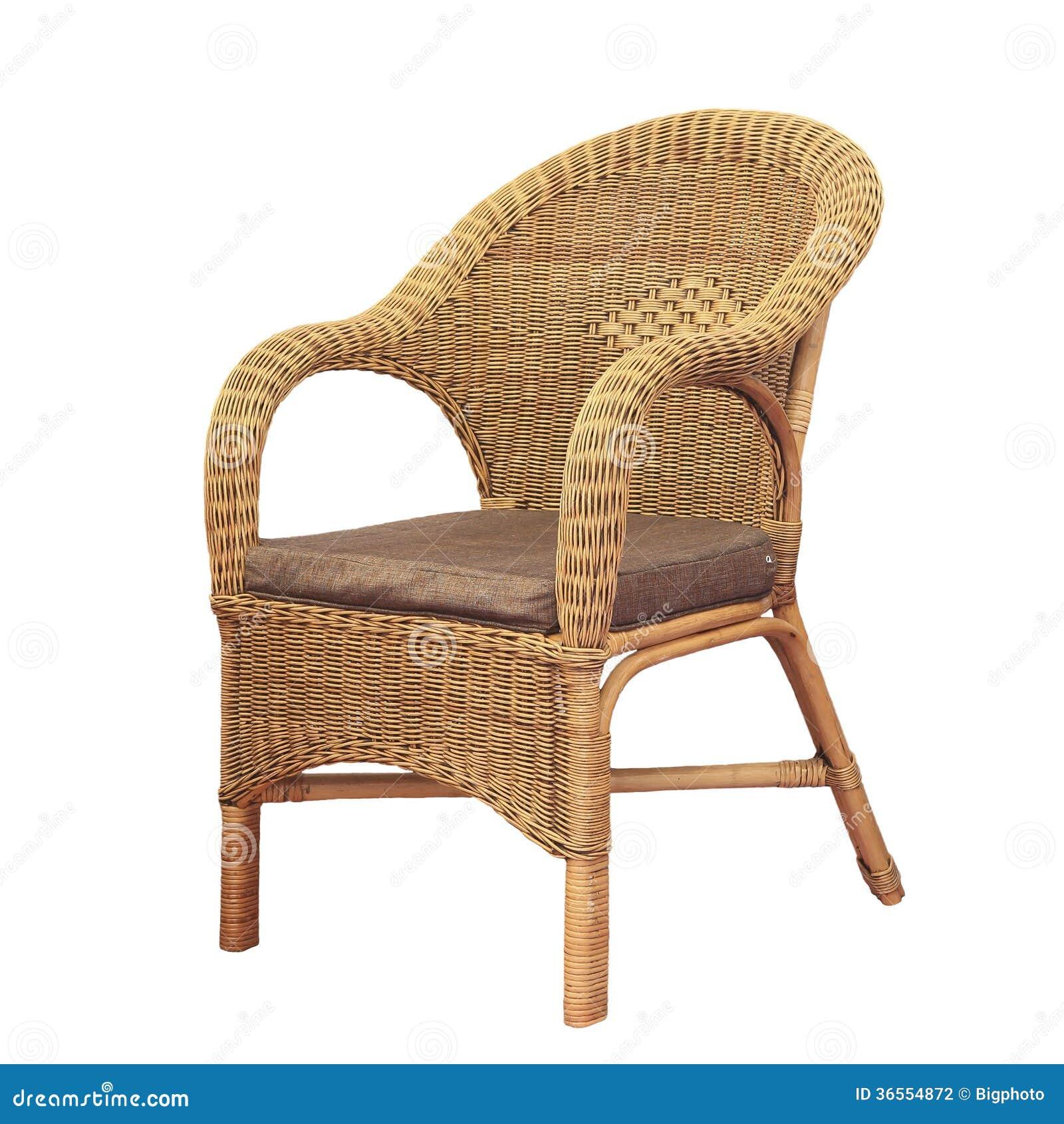 aus weiden geflochtener bequemer stuhl lokalisiert auf wei em hintergrund stockfotografie bild. Black Bedroom Furniture Sets. Home Design Ideas
