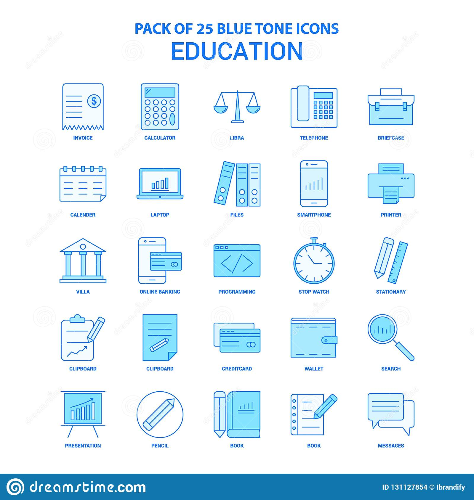 Ausbildung blaue Tone Icon Pack - 25 Ikonen-Sätze