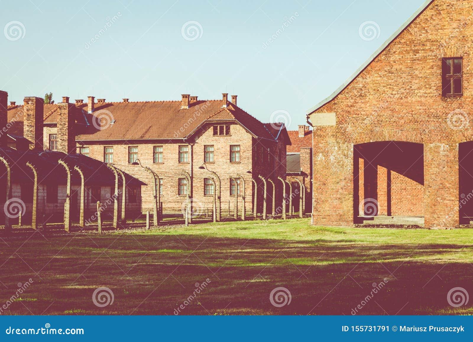 AUSCHWITZ-BIRKENAU, POLAND - AUGUST 12, 2019: Holocaust Memorial Museum. Part of Auschwitz- Birkenau Concentration Camp Holocaust
