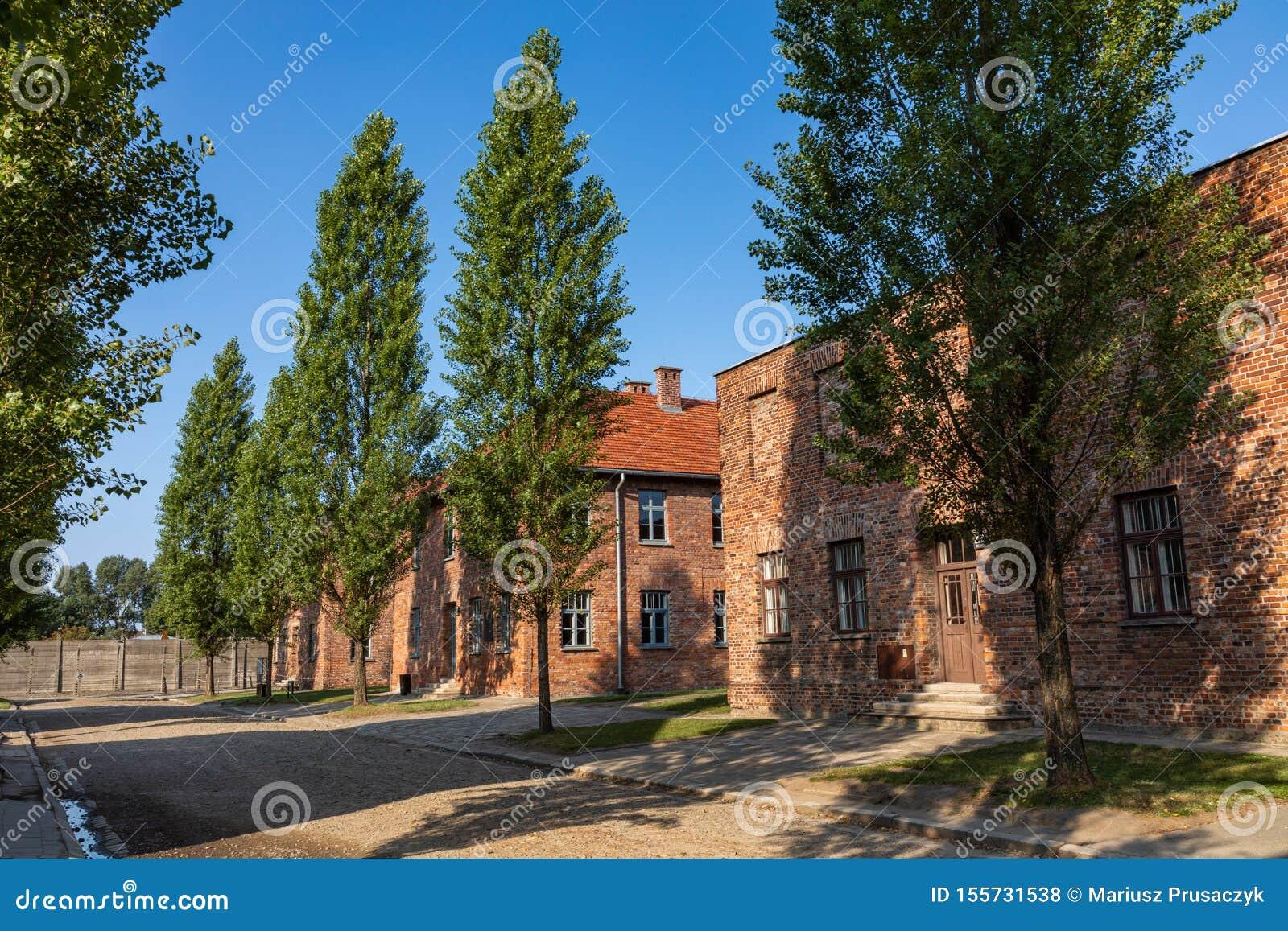 AUSCHWITZ-BIRKENAU, POLONIA - 12 AGOSTO 2019: Museo commemorativo di olocausto Parte dell olocausto del campo di concentramento d