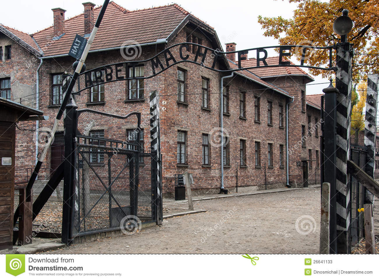 Auschwitz museum editorial stock photo image of entrance for Auschwitz chambre a gaz