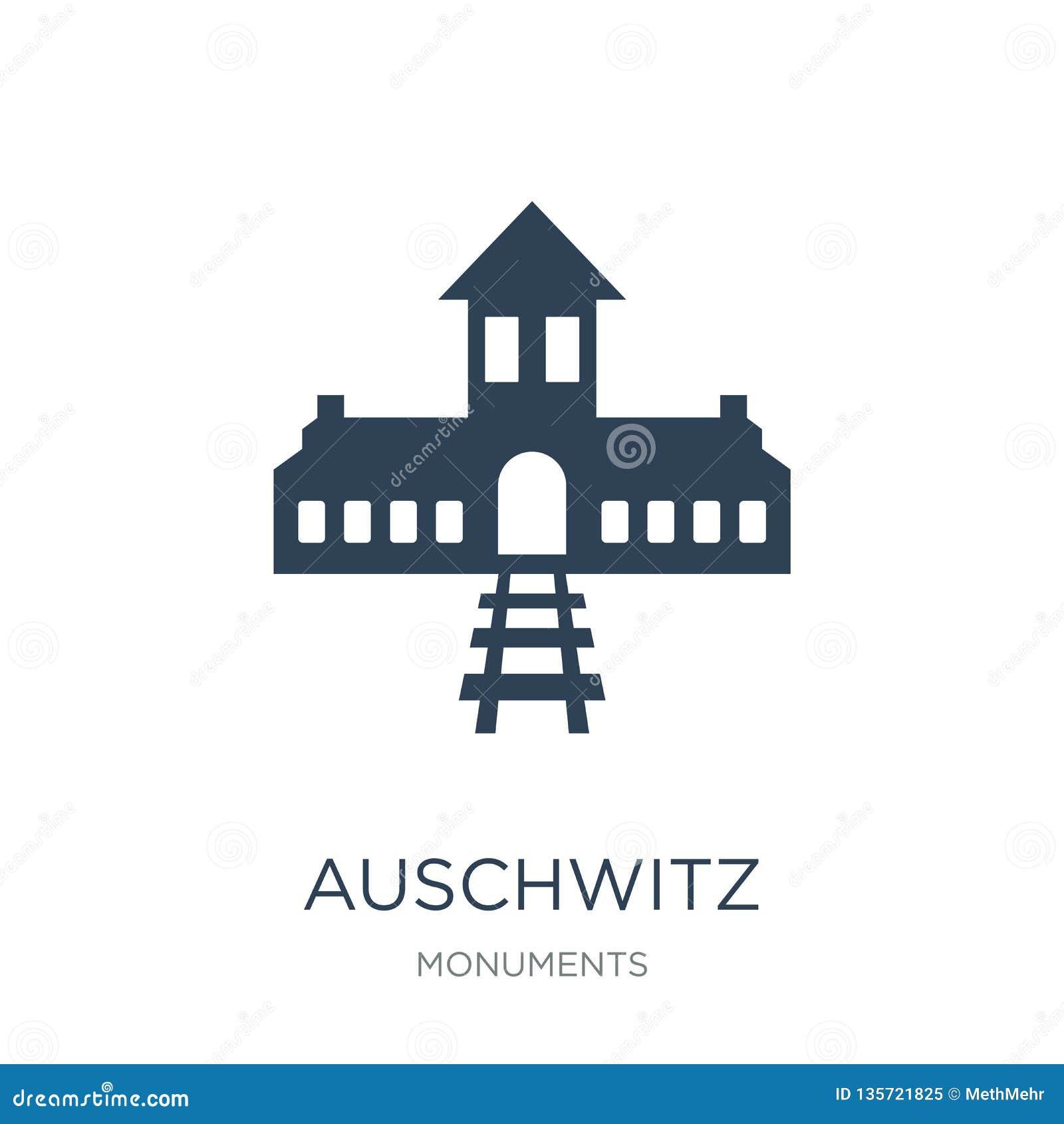 Auschwitz pictogram in in ontwerpstijl auschwitz pictogram op witte achtergrond wordt geïsoleerd die auschwitz vectorpictogram ee