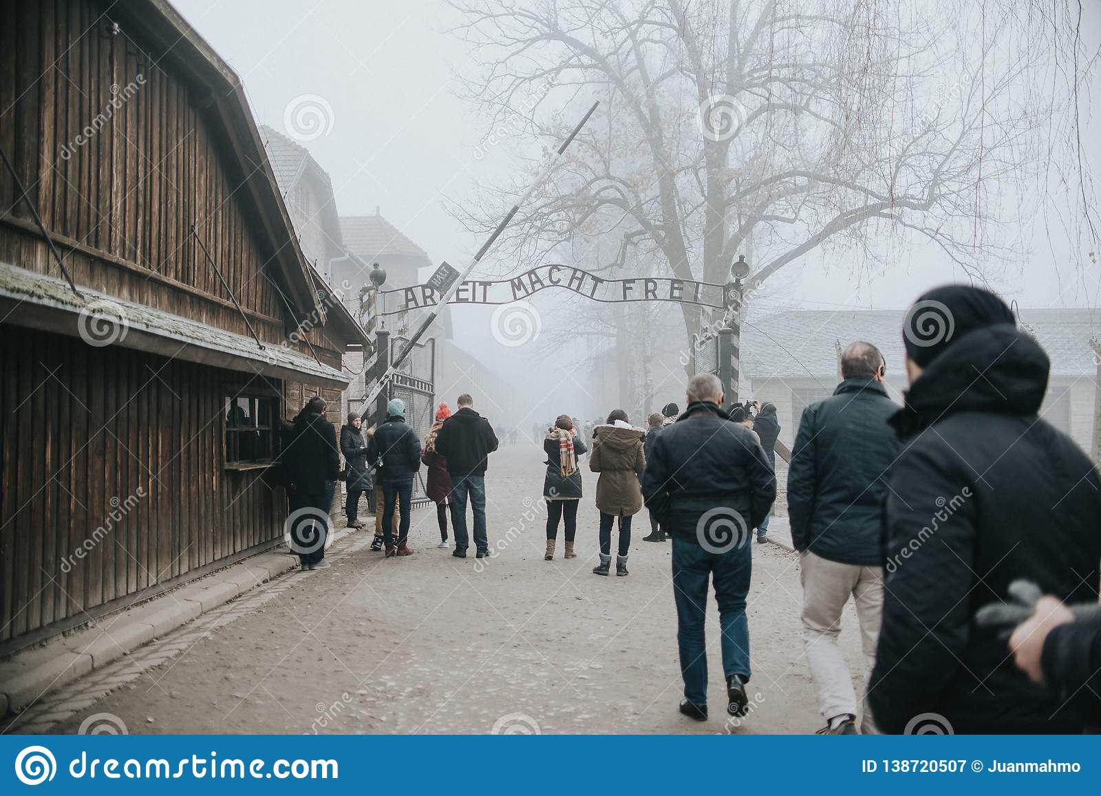 AUSCHWITZ, POLAND - DECEMBER 23, 2017: Holocaust Memorial Museum. The main gate of the concentration camp Auschwitz with the