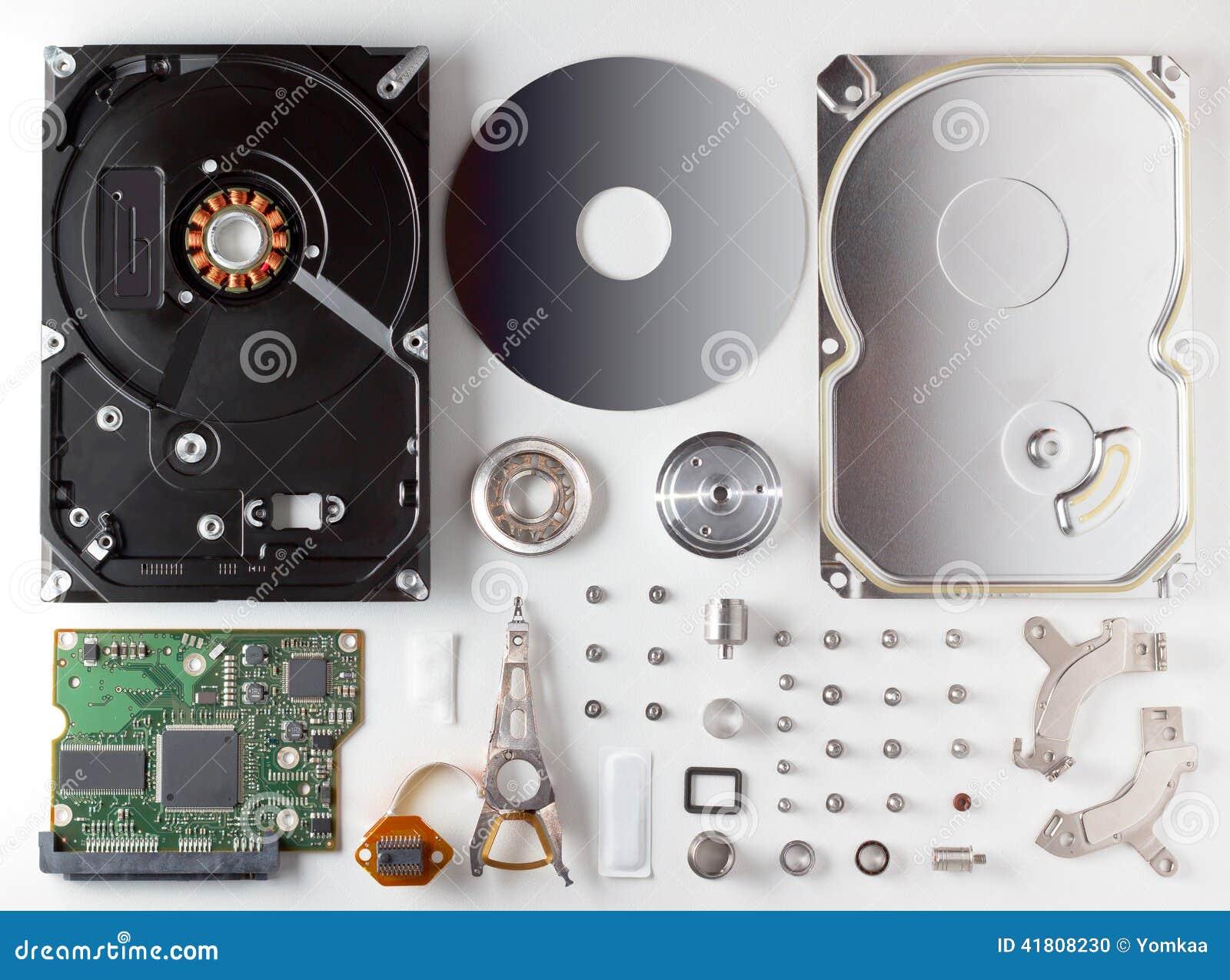 Auseinandergebautes Festplattenlaufwerk HDD Stockfoto - Bild von ...