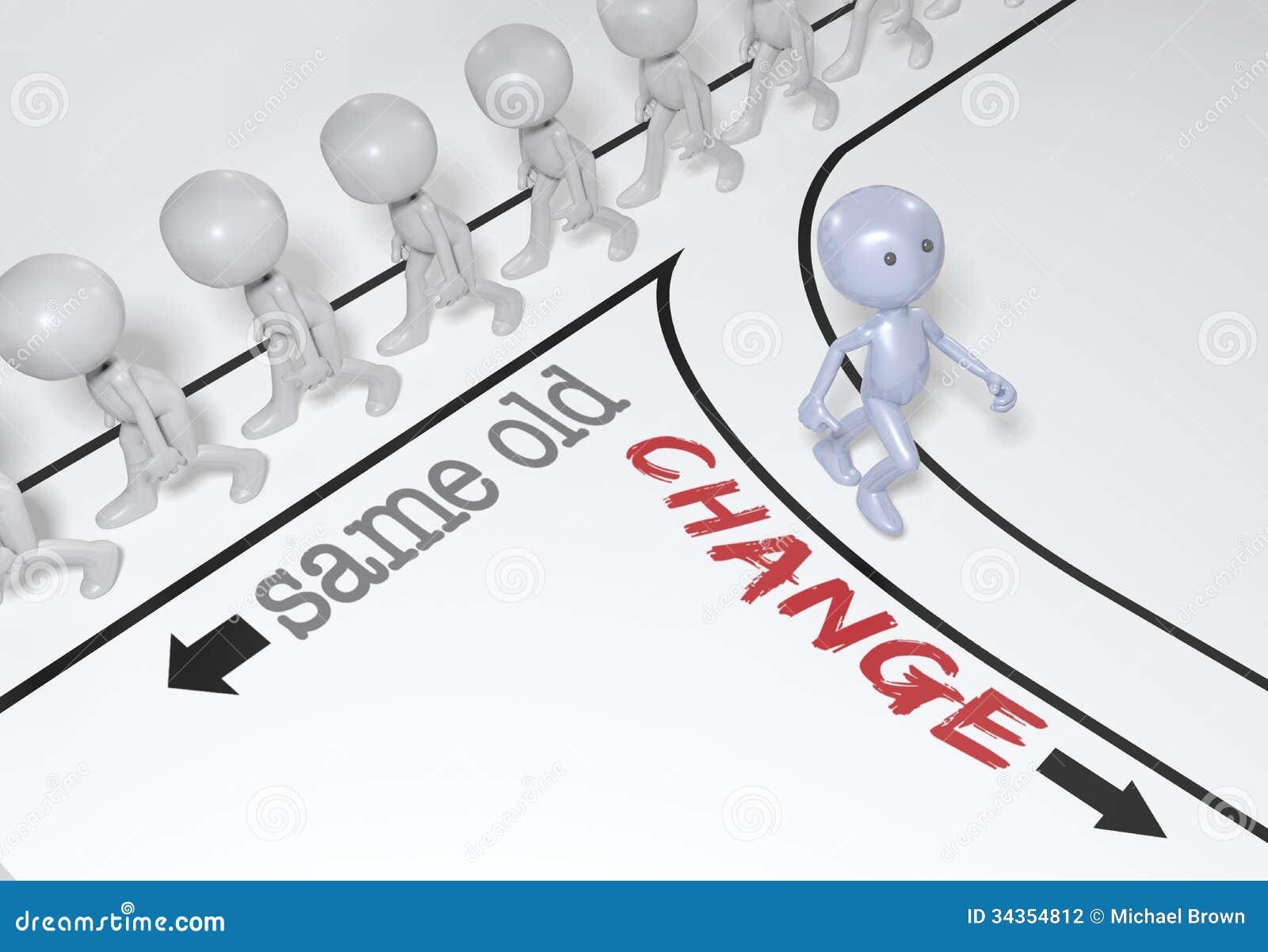 Auserlesene Änderung der Person gehen Weg neuer
