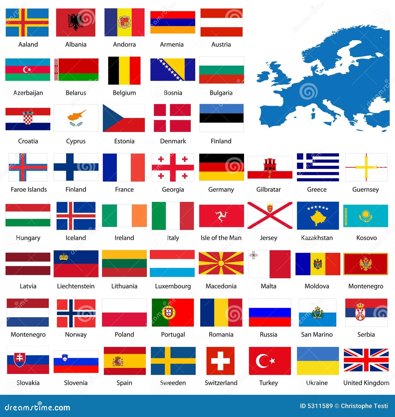 Ausführliche europäische Markierungsfahnen und MA