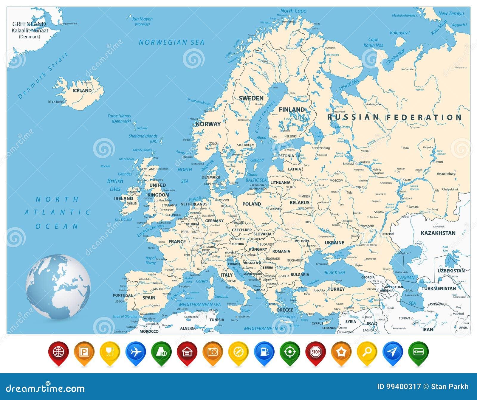 Europakarte Nordeuropa Karte.Ausführliche Europa Karte Und Bunte Karten Markierungen Vektor