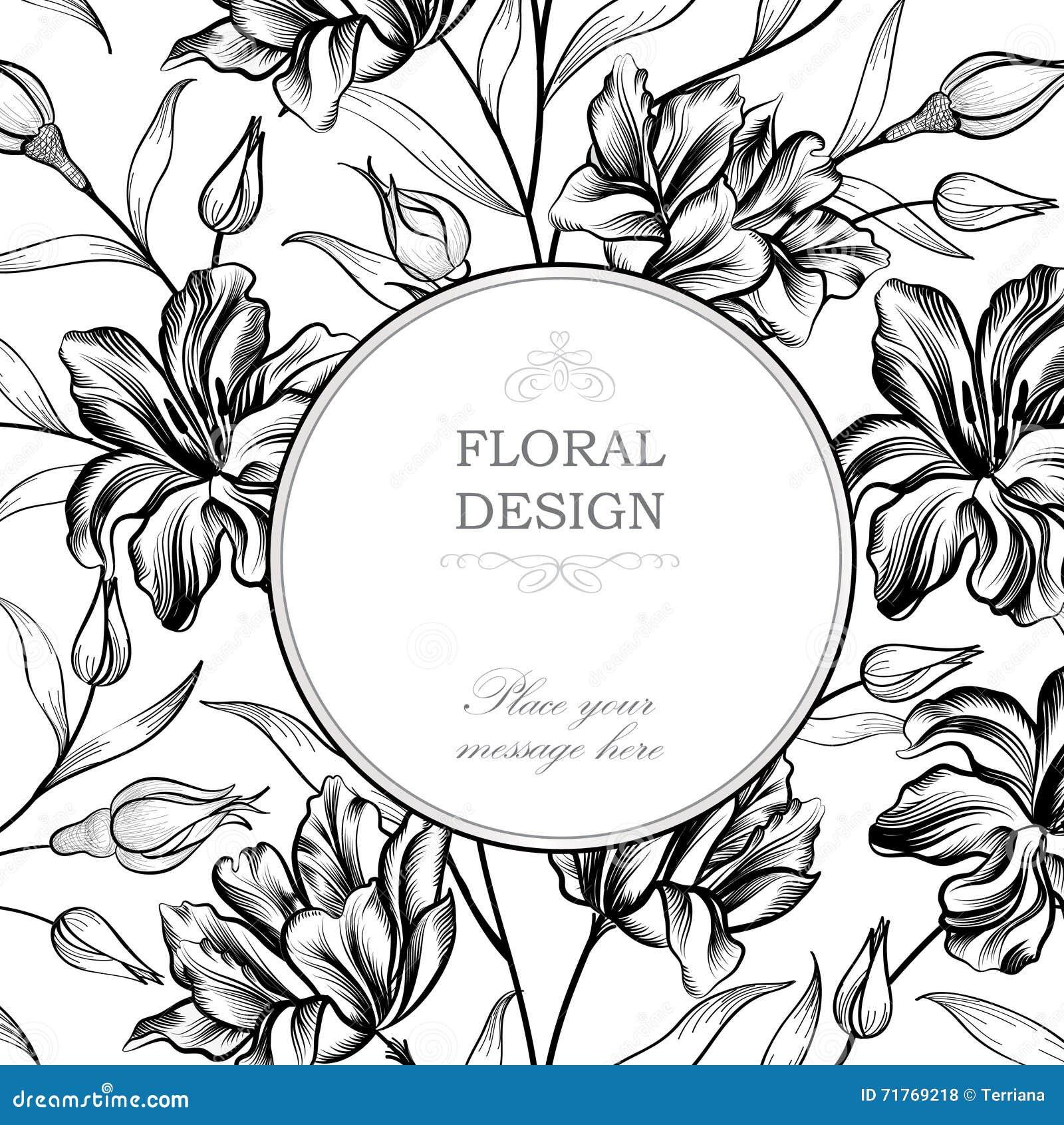 Ausführliche Vektorzeichnung Grußkarte Mit Blume Flourishkreisrahmen ...