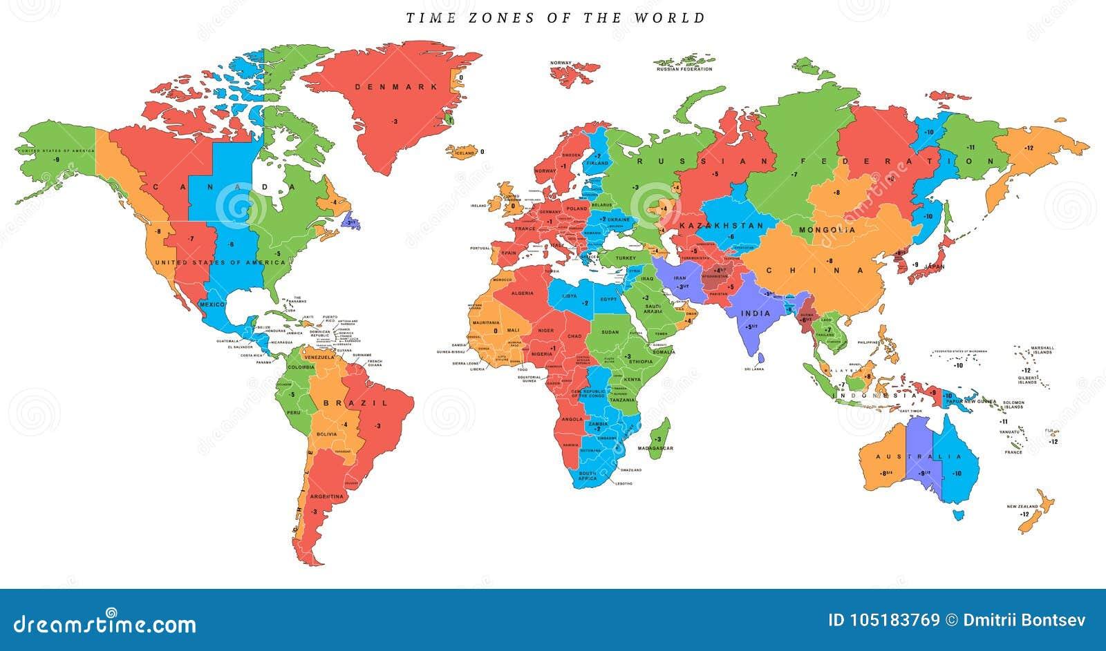 Ausfuhrliche Weltkarte Des Vektors Mit Zeitzonen Vektor Abbildung
