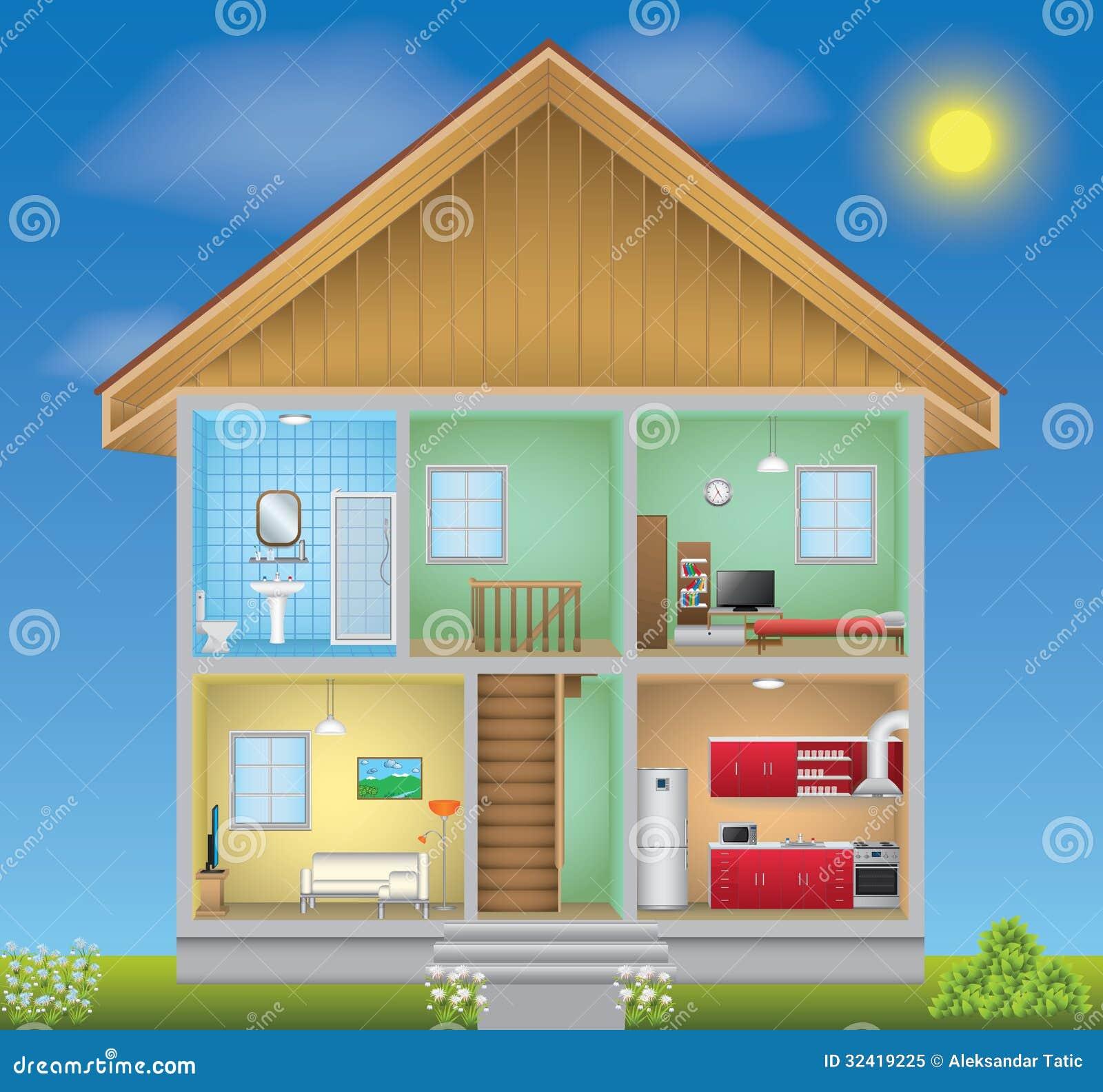Ausführlicher Hausinnenraum Stock Abbildung - Illustration von ...