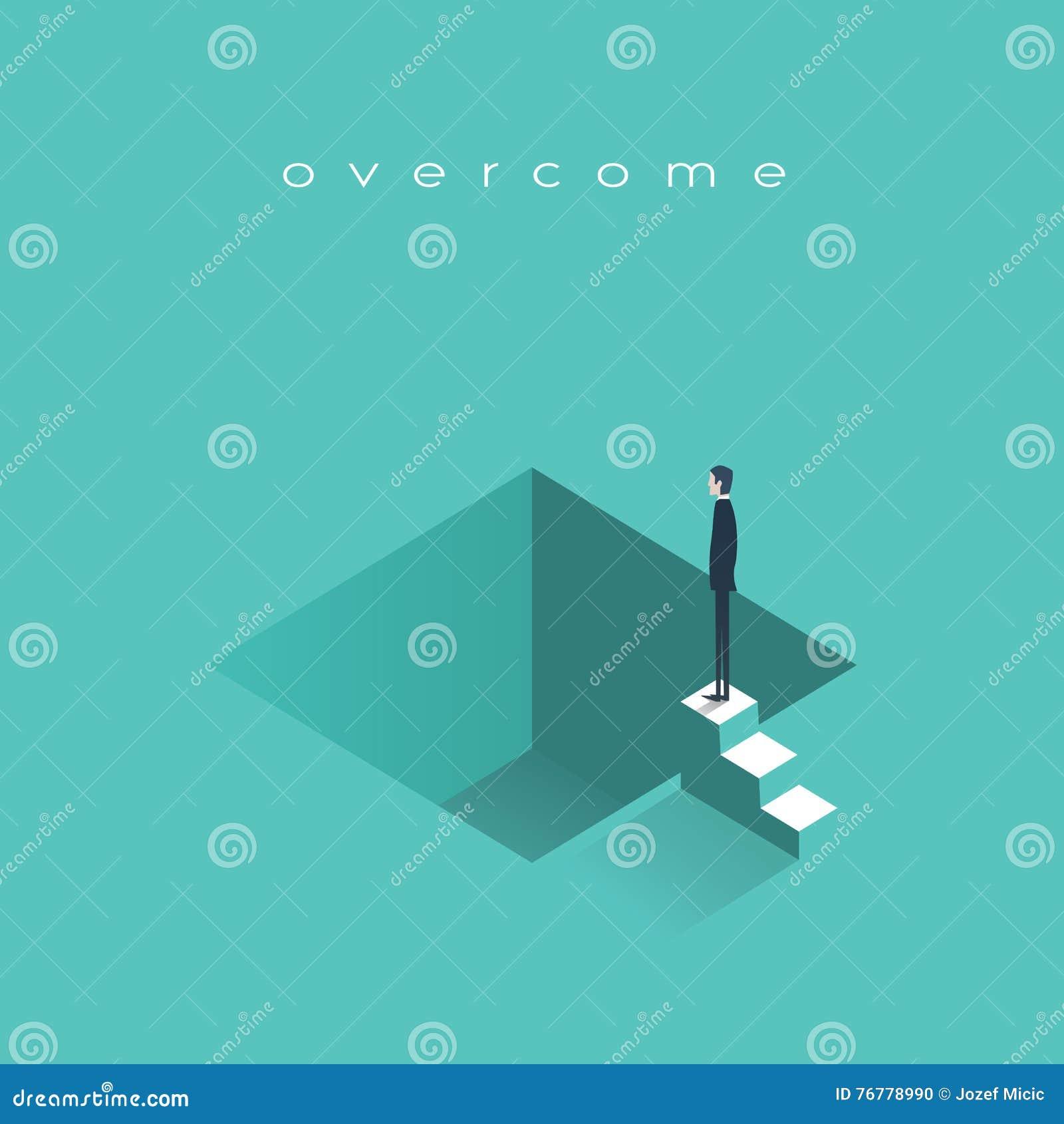 Ausfall in der Geschäftsvektor-Konzeptillustration mit dem deprimierten Geschäftsmann, der bereit steht zu springen Symbol des Ko