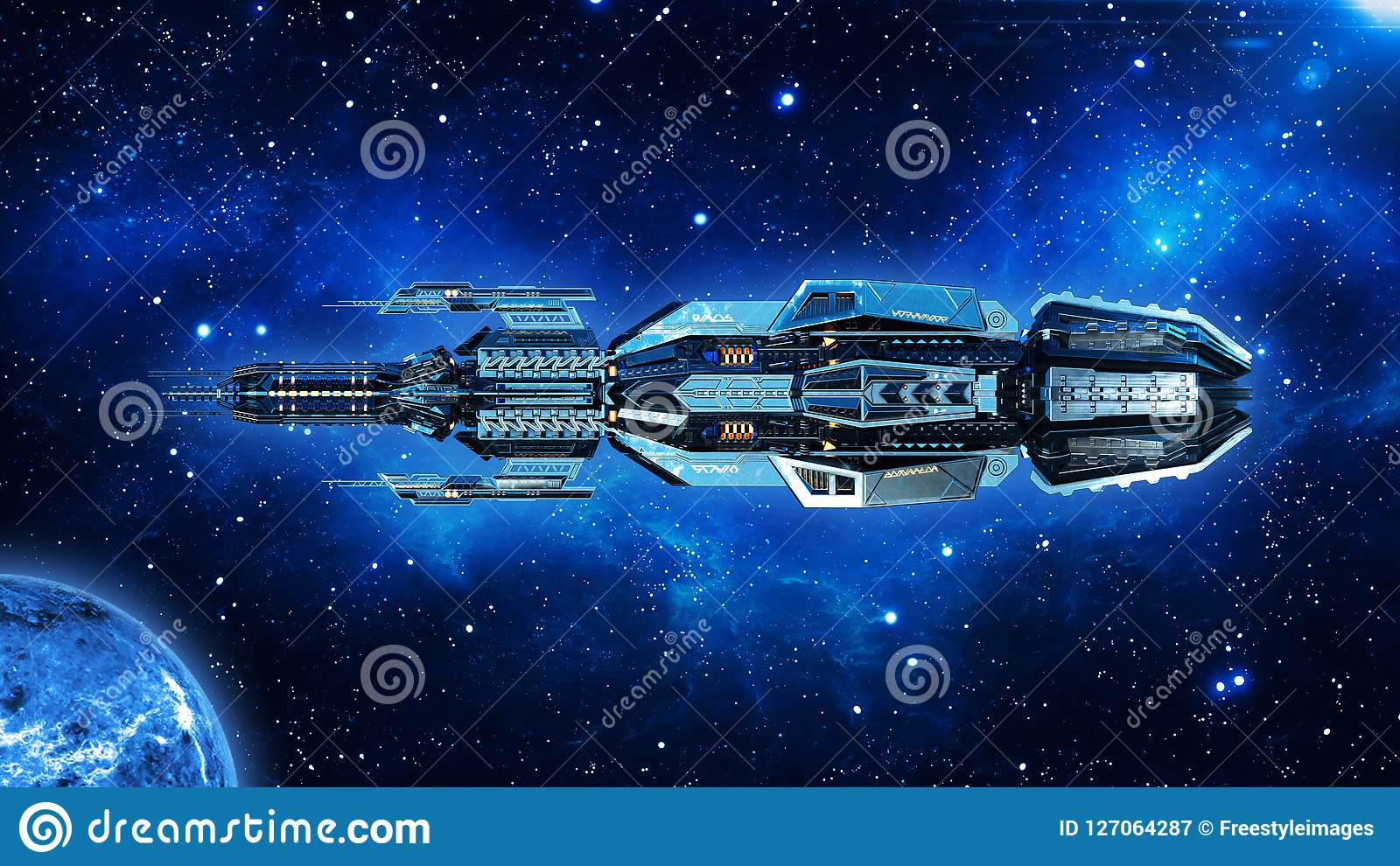 Ausländisches Mutterschiff, Raumschiff im Weltraum-, UFO-Raumfahrzeugfliegen im Universum mit Planeten und in den Sternen, Seiten